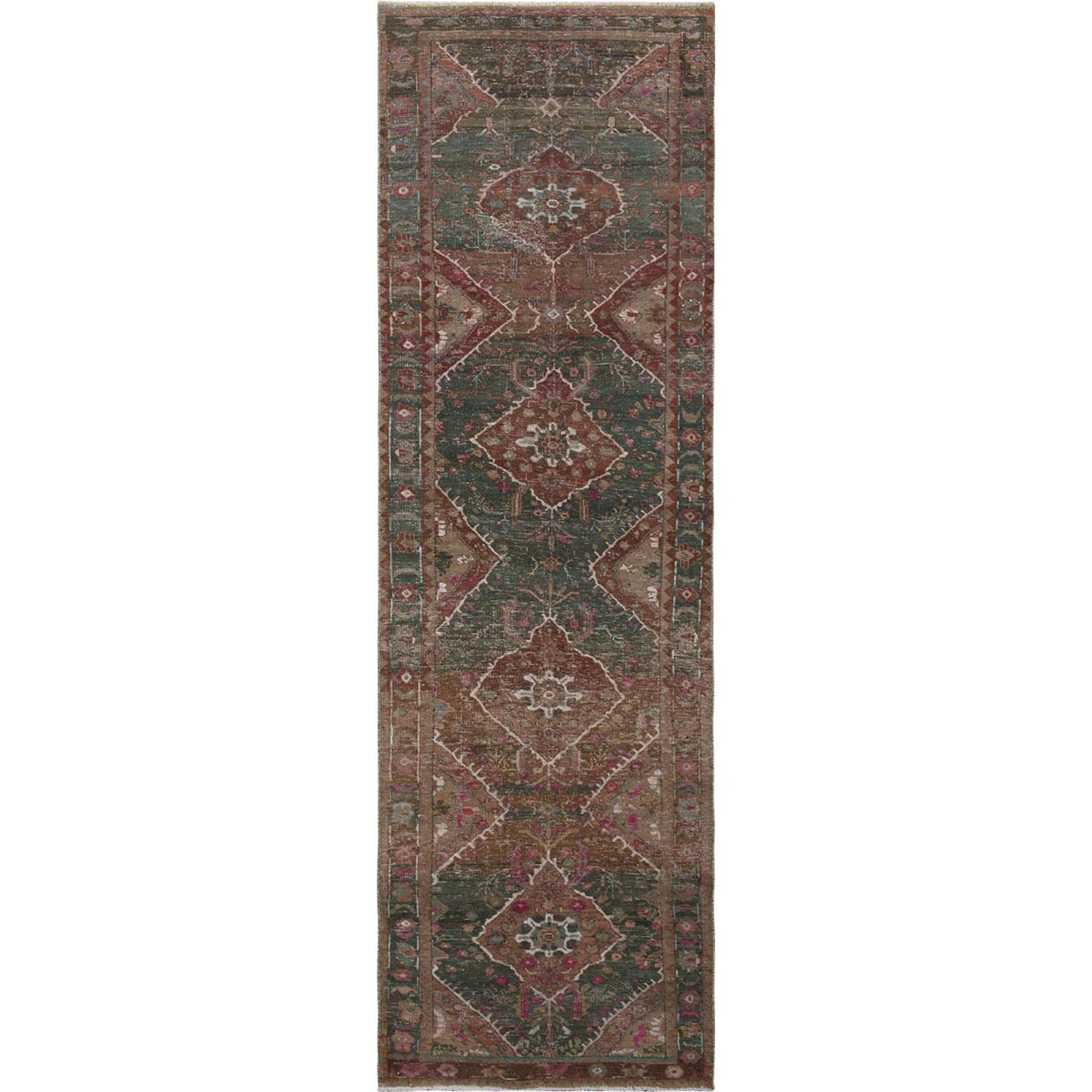 "3'7""X12'3"" Green Vintage And Worn Down Persian Heriz Hand Knotted Runner Pure Wool Oriental Rug moae76d6"