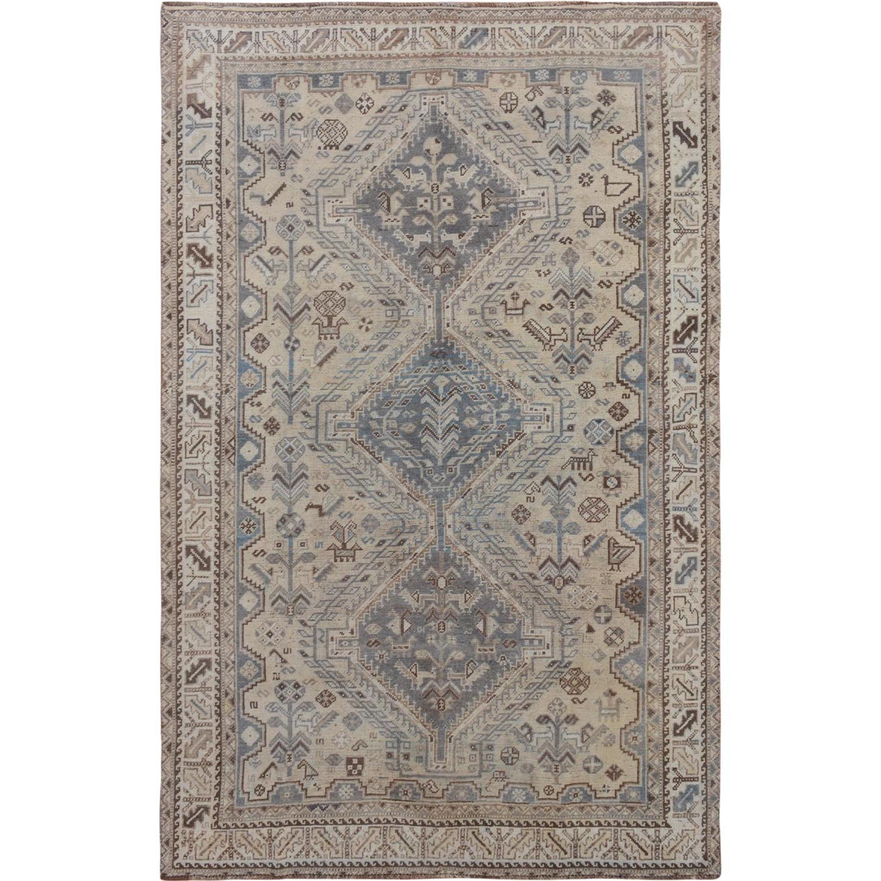 "5'5""X8'9"" Natural Colors Vintage And Worn Down Persian Shiraz Clean Hand Knotted Pure Wool Oriental Rug moae76eb"