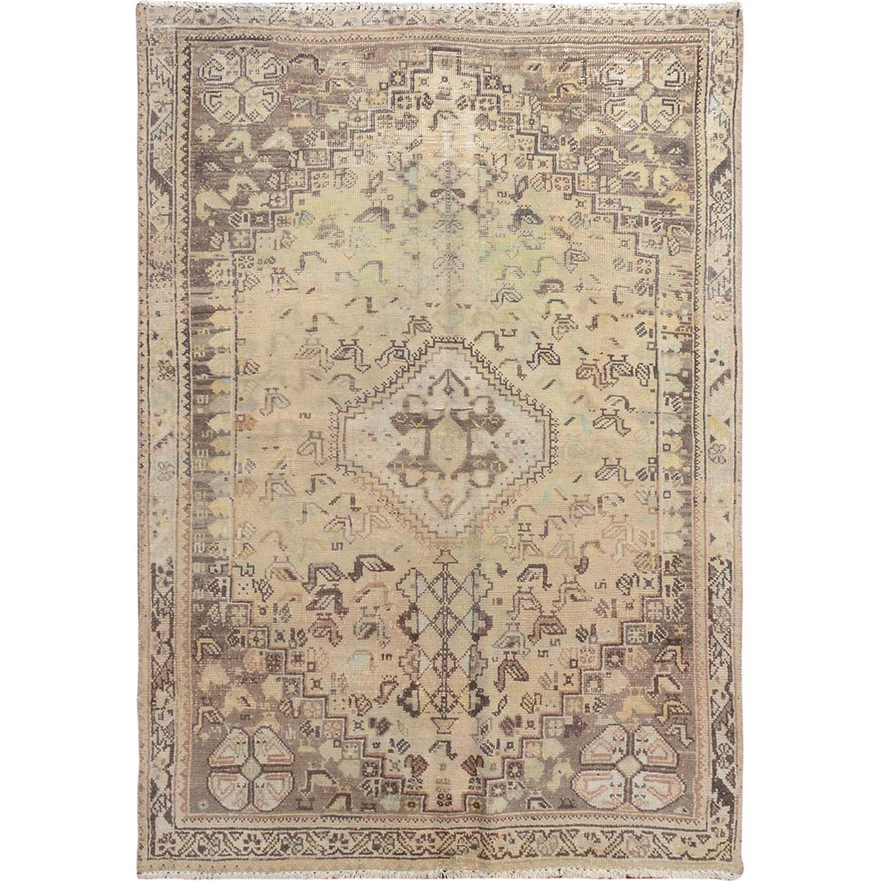 "3'8""x5'3"" Beige Vintage and Worn Down Persian Qashqai Clean Hand Knotted Oriental Rug"