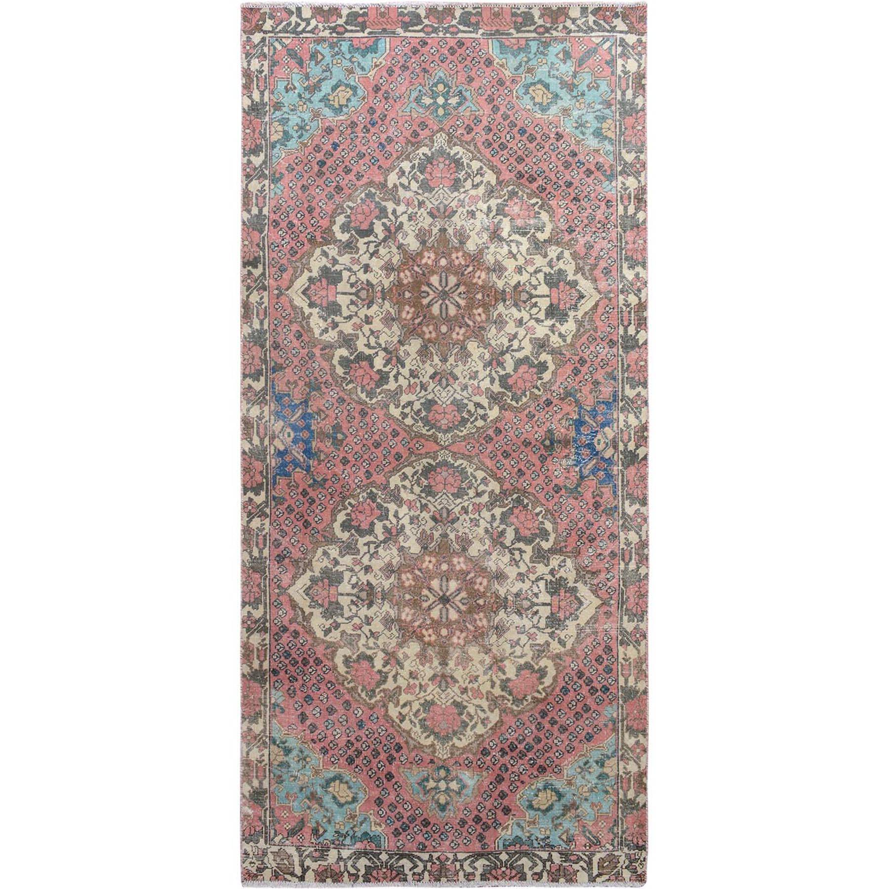 "4'5""x9' Pink Vintage and Worn Down Washed Runner Persian Antique Bakhtiari Hand Knotted Oriental Rug"