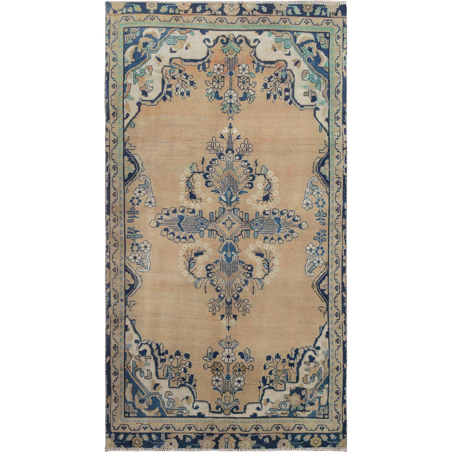 "4'x6'10"" Natural Colors Vintage and Worn Down Persian Lilahan Hand Knotted Pure Wool Oriental Rug"