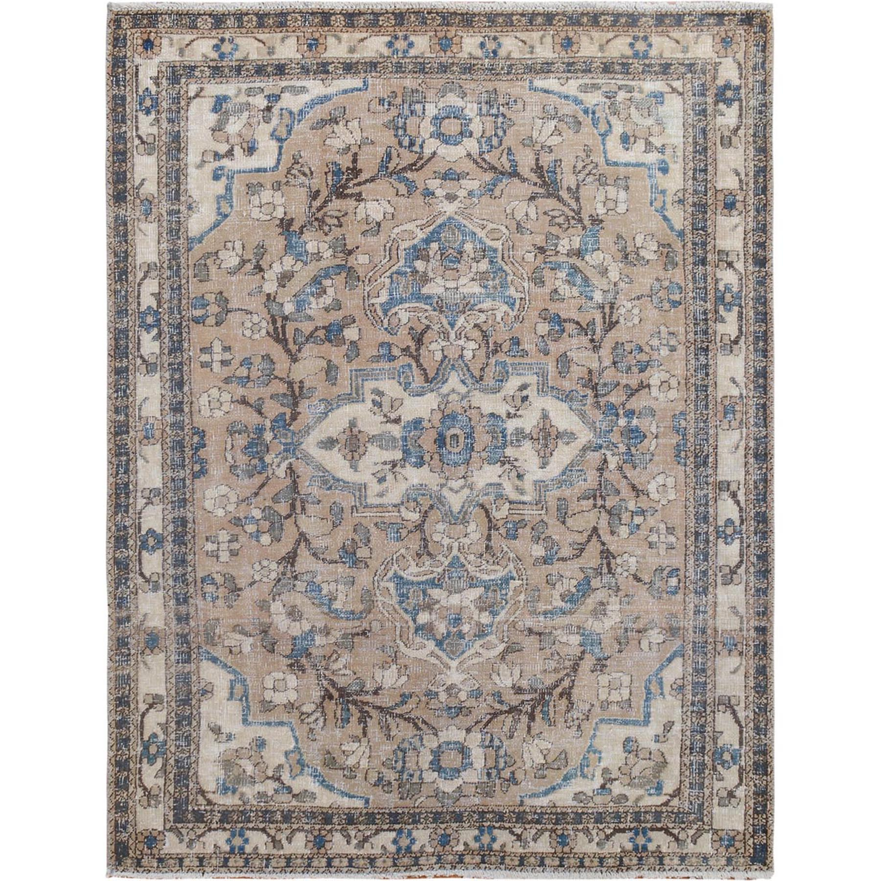 "4'9""x6'4"" Brown Vintage and Worn Down Persian Bakhtiari Pure Wool Hand Knotted Oriental Rug"