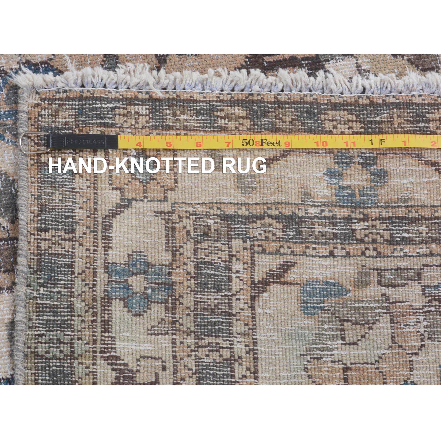 """4'9""""x6'4"""" Brown Vintage and Worn Down Persian Bakhtiari Pure Wool Hand Knotted Oriental Rug"""