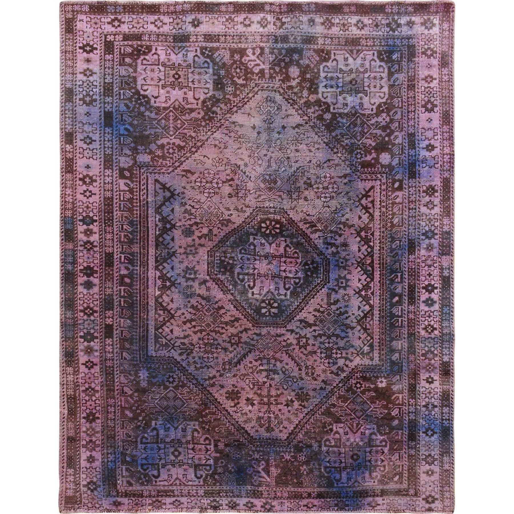 "5'x6'3"" lavender Overdyed And Vintage Worn Down Persian Shiraz Clean Pure Wool Oriental Rug"