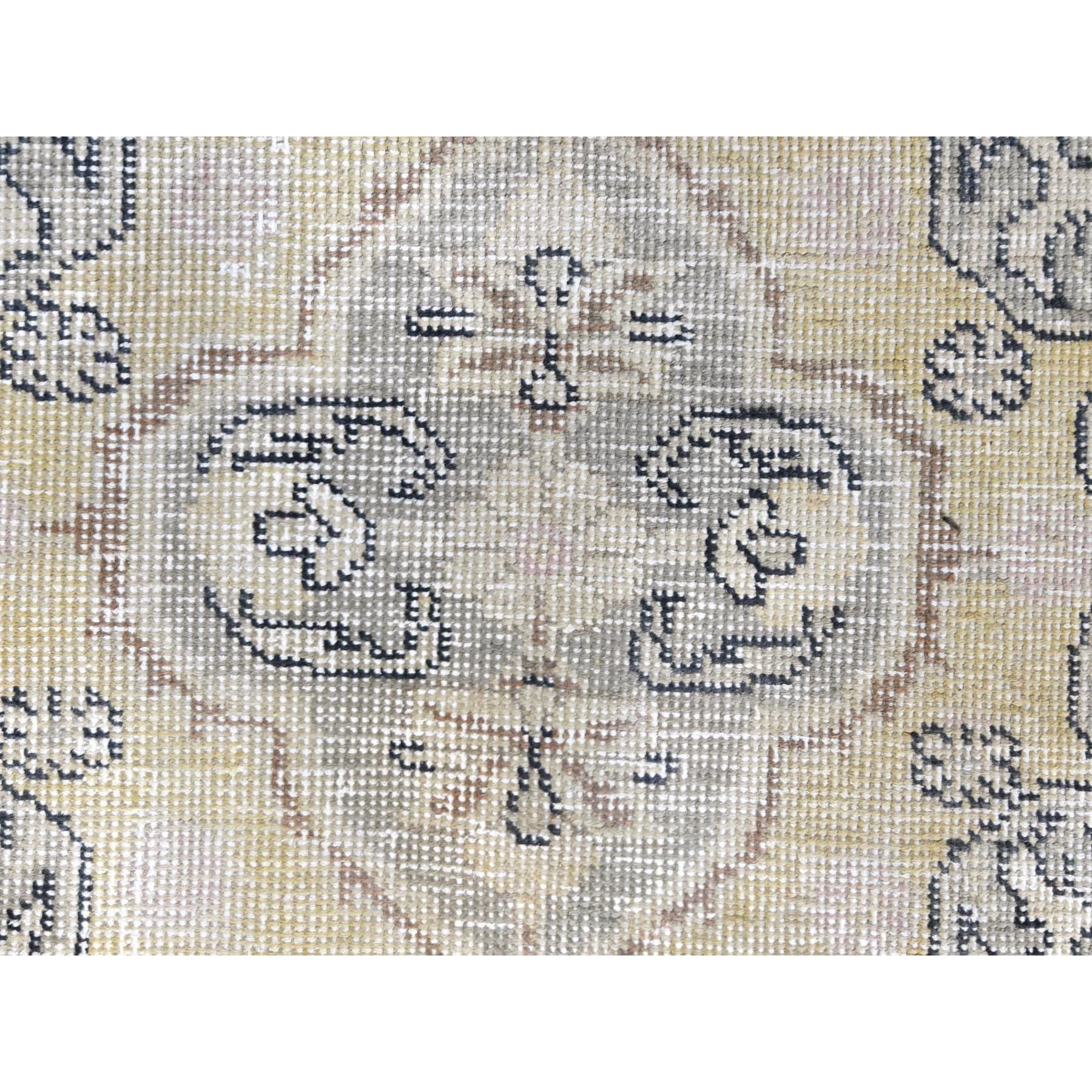 """9'3""""x12'2"""" Pure Wool Light Yellow Persian Tabriz With Medallion Design Old Sheared Low Hand Knotted Clean Bohemian Oriental Rug"""