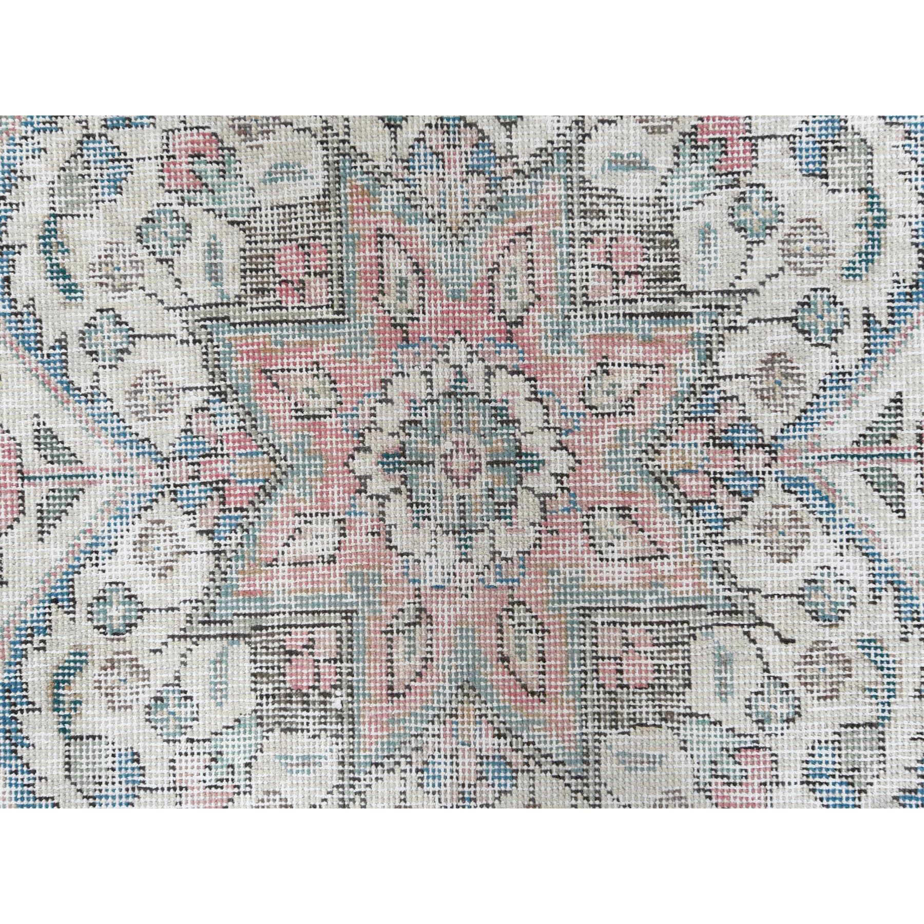 """9'3""""x12'1"""" Hand Knotted Faded Red Persian Tabriz With Medallion Design Old Worn Down Shabby Chic Clean Natural Wool Oriental Rug"""