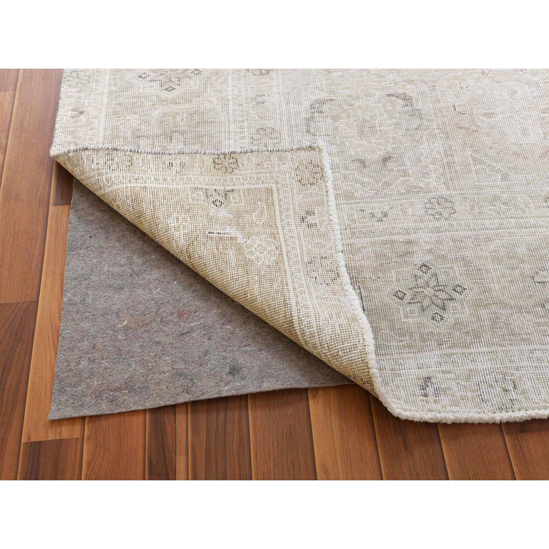 """9'7""""x12'2"""" Vintage Look Light Brown Persian Tabriz With Medallion Design Pure Wool Worn Down Bohemian Clean Hand Knotted Oriental Rug"""