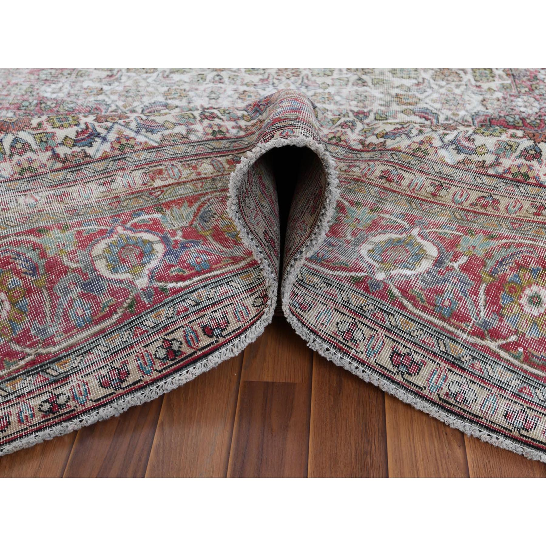 "9'4""x12'5"" Faded Red Persian Tabriz With Medallion Design Natural Wool Old Worn Down Bohemian Hand Knotted Clean Oriental Rug"