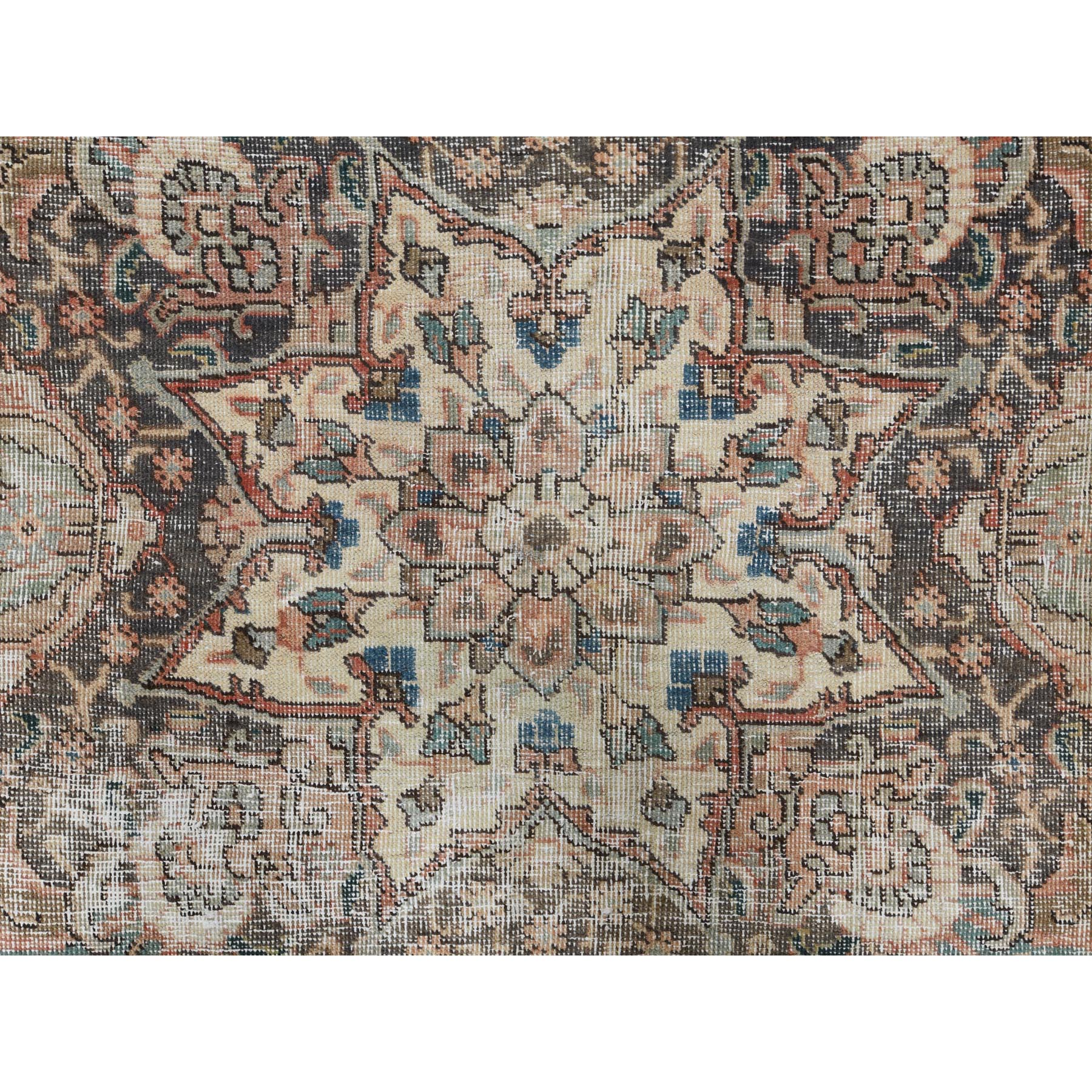 "8'10""x12'2"" Pure Wool Faded Red Persian Tabriz With Medallion Design Old Sheared Low Clean Shabby Chic Hand Knotted Oriental Rug"