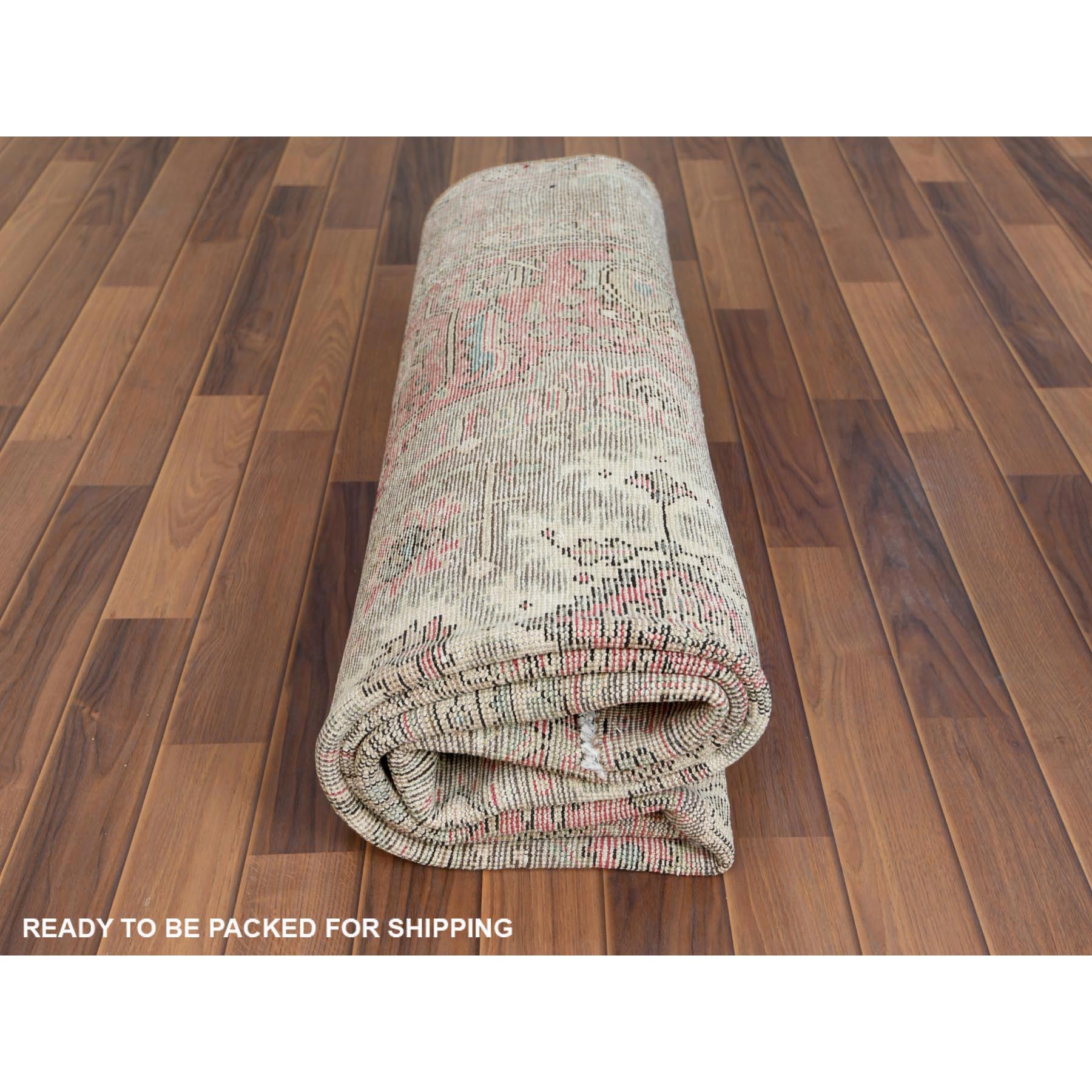 """6'6""""x9'3"""" Faded Pink Worn Down Persian Tabriz With Medallion Design Vintage Look Shabby Chic Pure Wool Clean Hand Knotted Oriental Rug"""