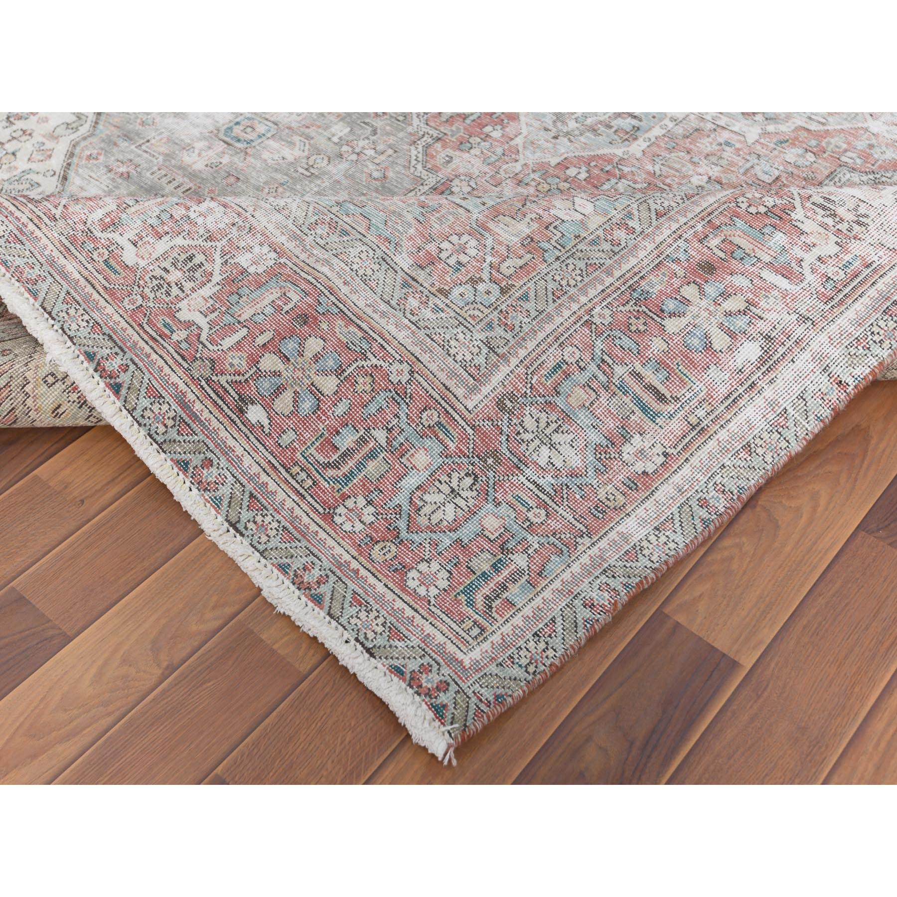 """6'4""""x9'6"""" Pure Wool Gray Persian Tabriz With Medallion Design Old Sheared Low Shabby Chic Clean Hand Knotted Oriental Rug"""