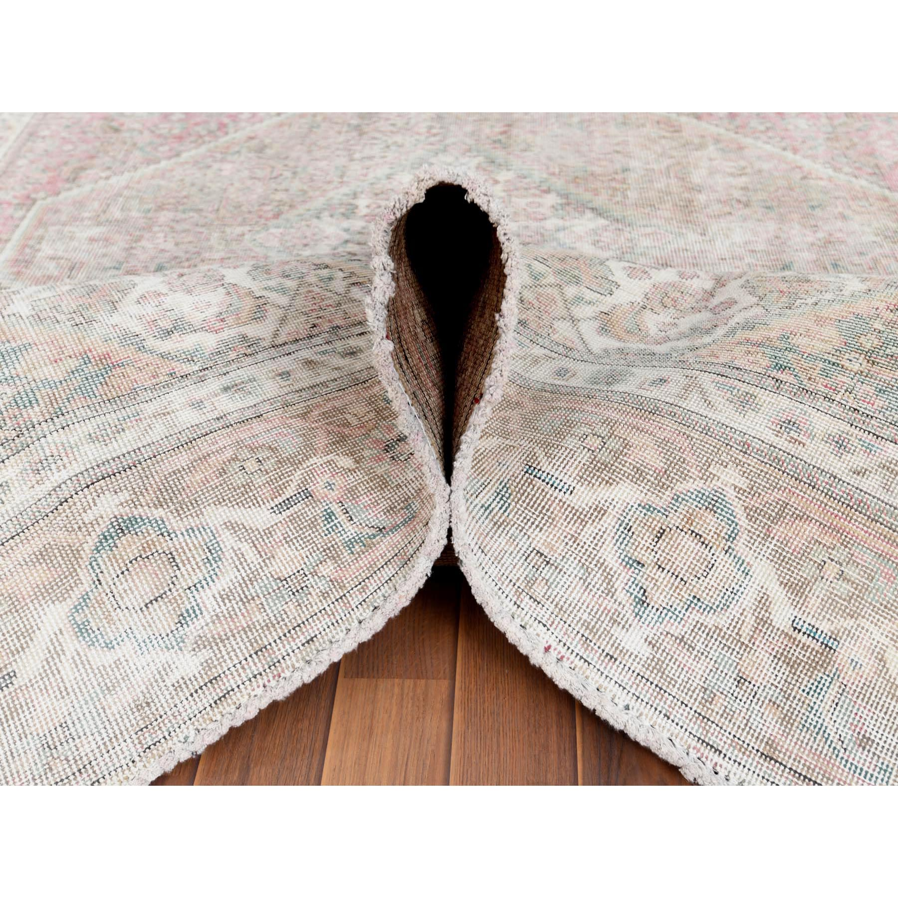 """6'1""""x9'4"""" Hand Knotted Semi Antique Coral Color Persian Tabriz Mahi with Medallion Design Distressed Bohemian Clean Organic Wool Oriental Rug"""