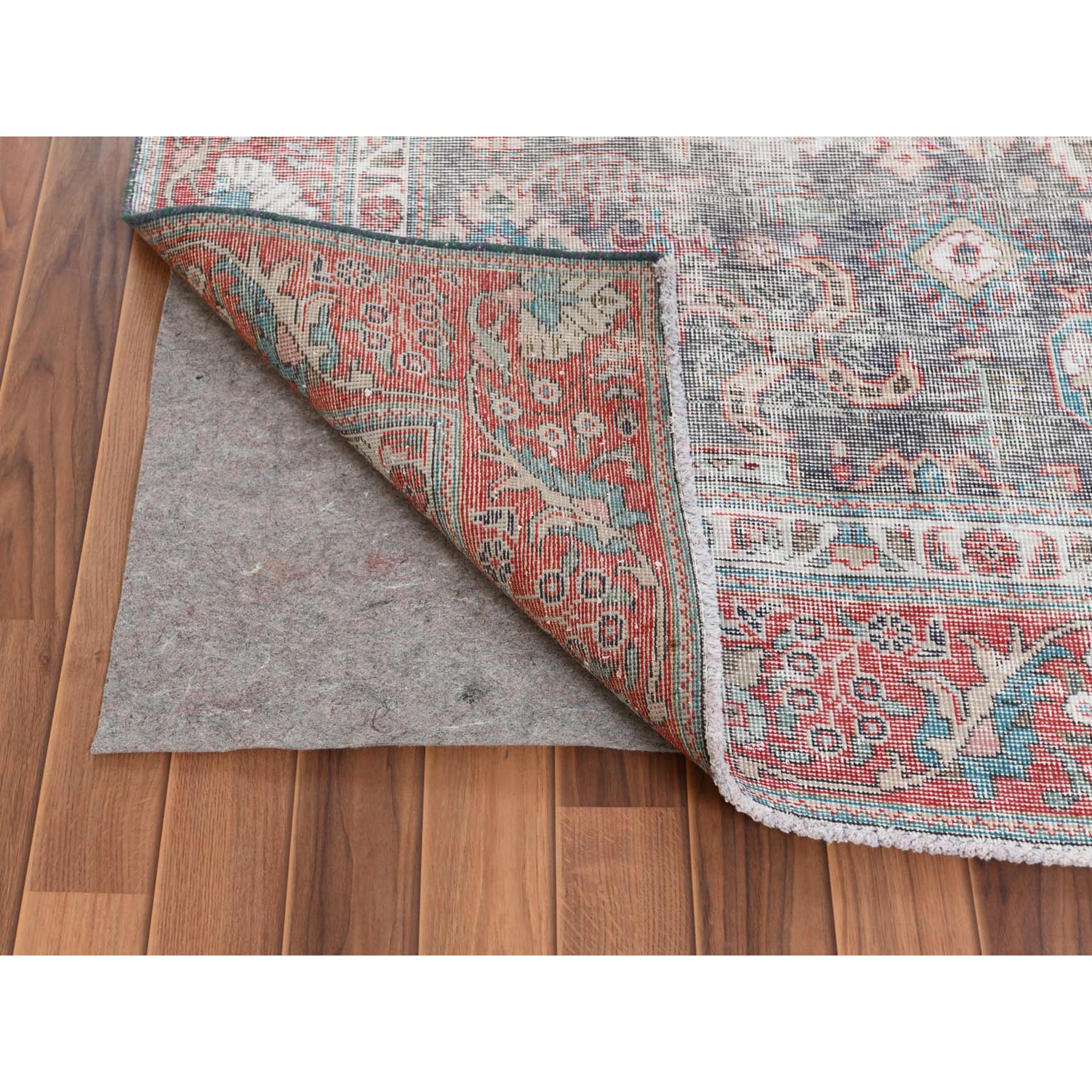 6'x9' Dark Gray Persian Tabriz All Over Design Vintage Look Worn Down Bohemian Clean Natural Wool Hand Knotted Oriental Rug