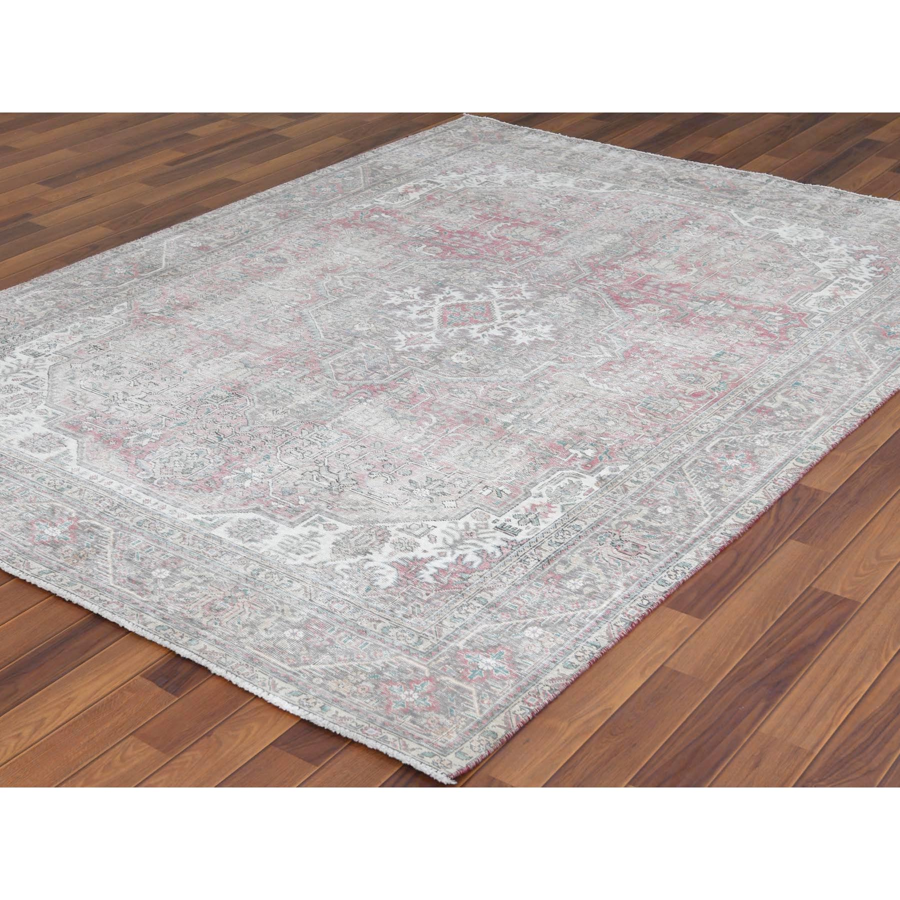 "6'6""x9'4"" Semi Antique Hand Knotted Pink Persian Tabriz With Medallion Design Worn Down Shabby Chic Clean Pure Wool Oriental Rug"