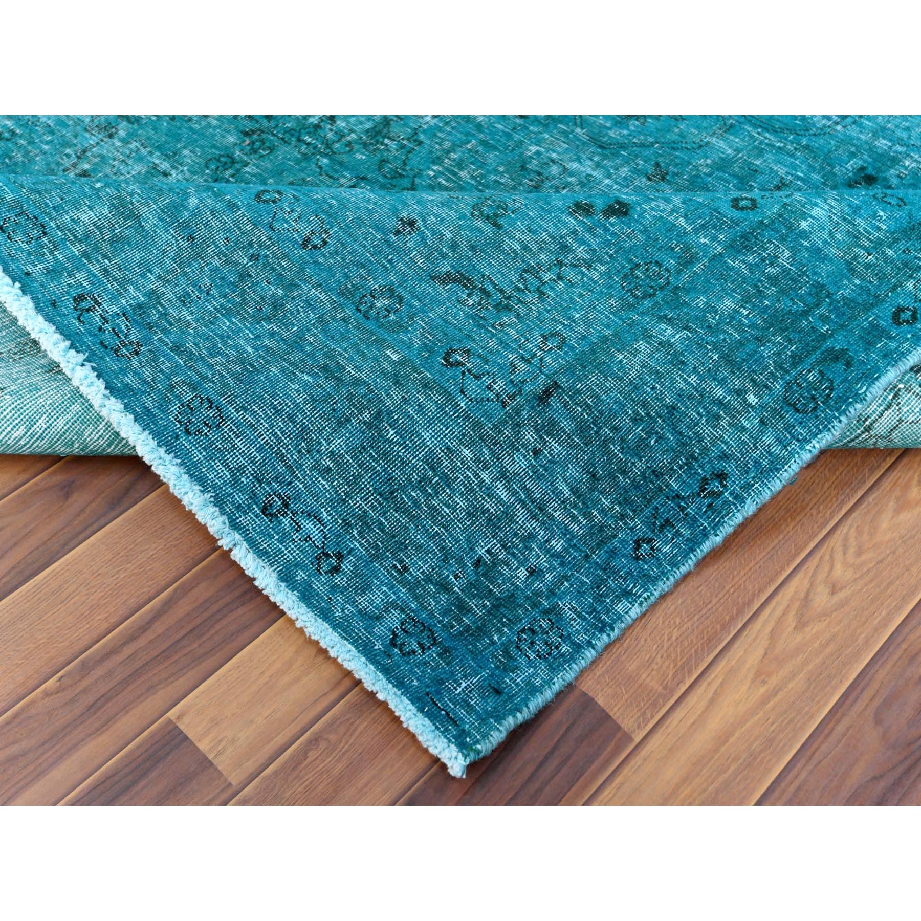 """6'4""""x9'4"""" Teal Persian Tabriz With Medallion Design Old Distressed Shabby Chic Pure Wool Clean Hand Knotted Oriental Rug"""