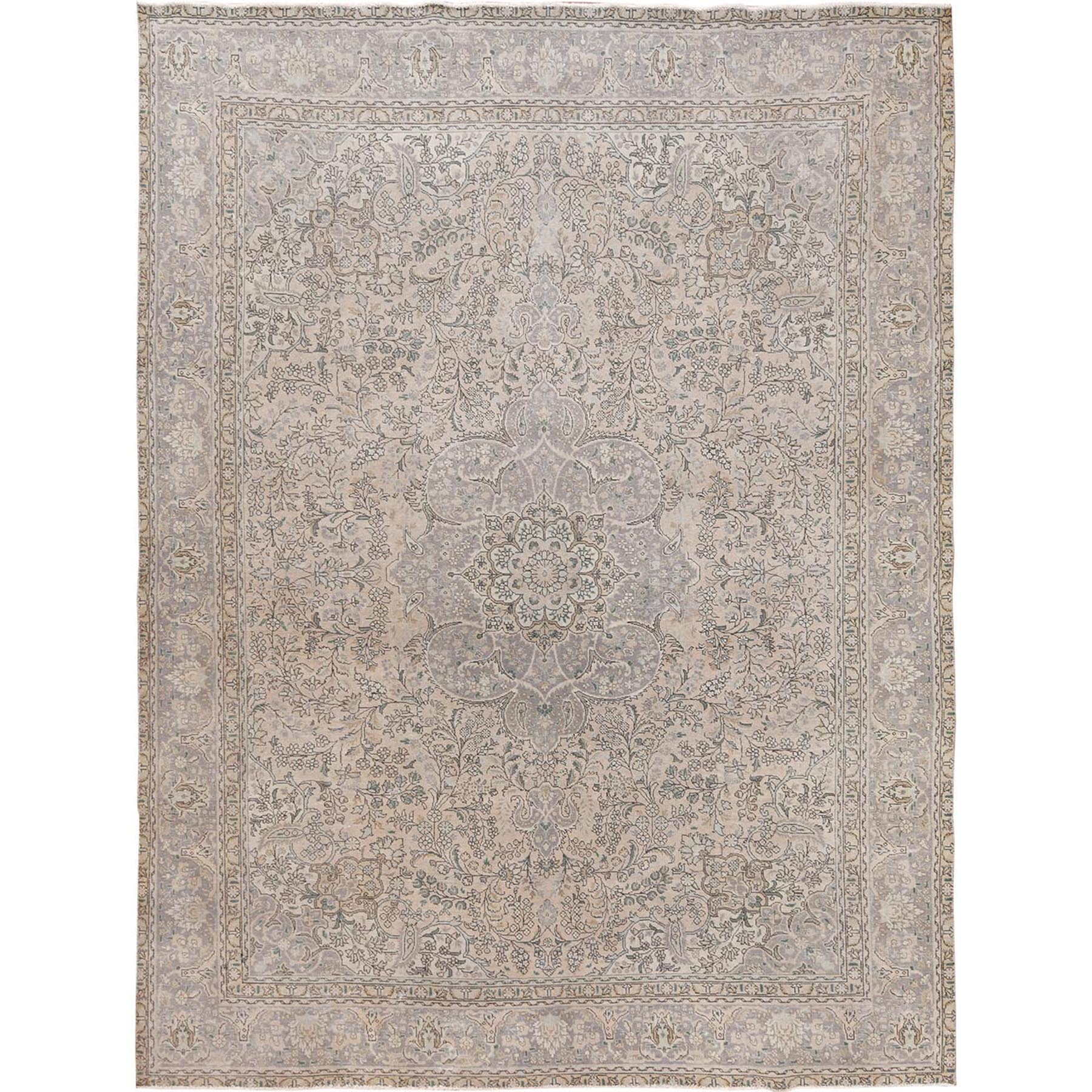"""9'8""""X12'6"""" Tan Color Persian Tabriz With Medallion Design Old Sheared Low Shabby Chic Hand Knotted Natural Wool Clean Oriental Rug moae77c7"""