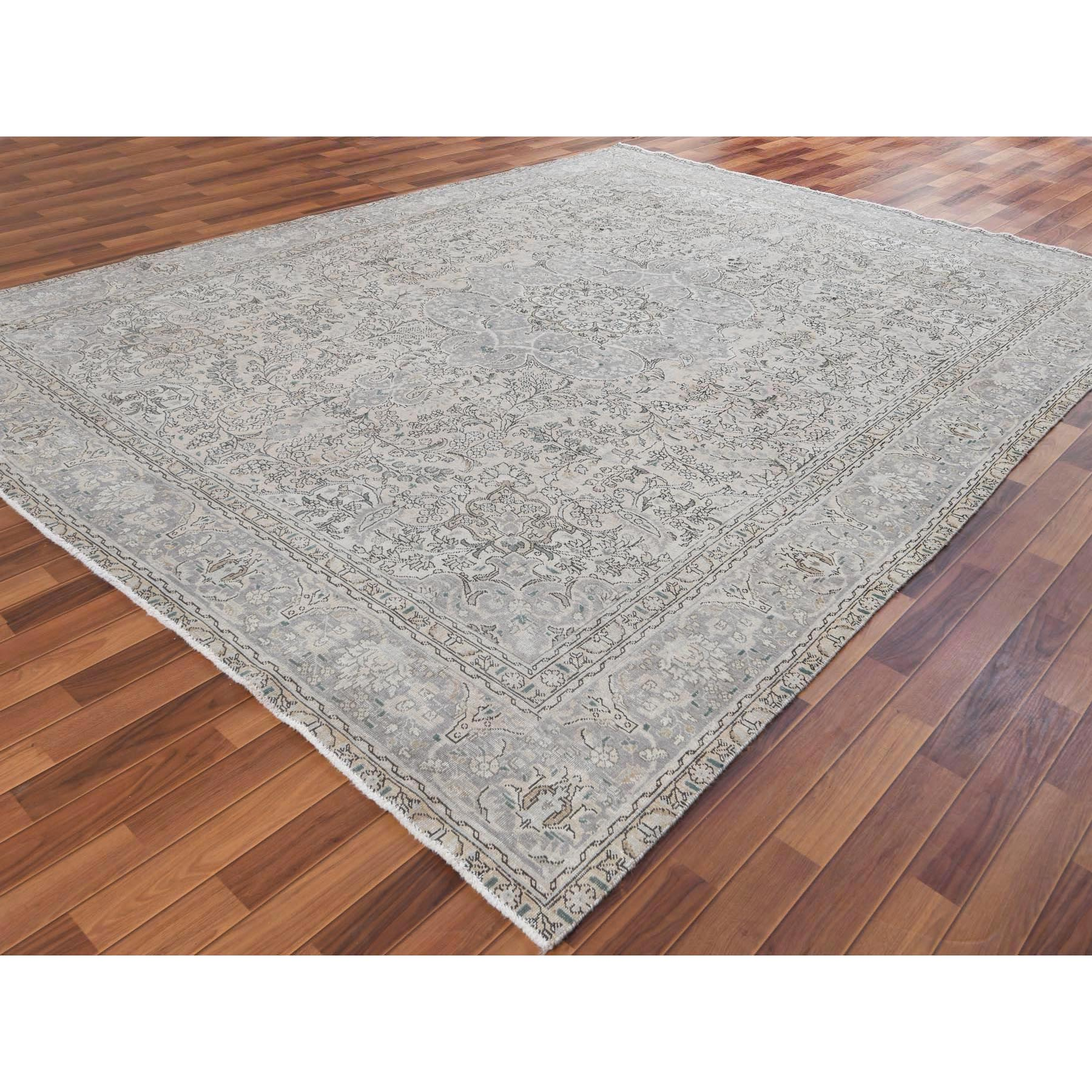 """9'8""""x12'6"""" Tan Color Persian Tabriz With Medallion Design Old Sheared Low Shabby Chic Hand Knotted Natural Wool Clean Oriental Rug"""