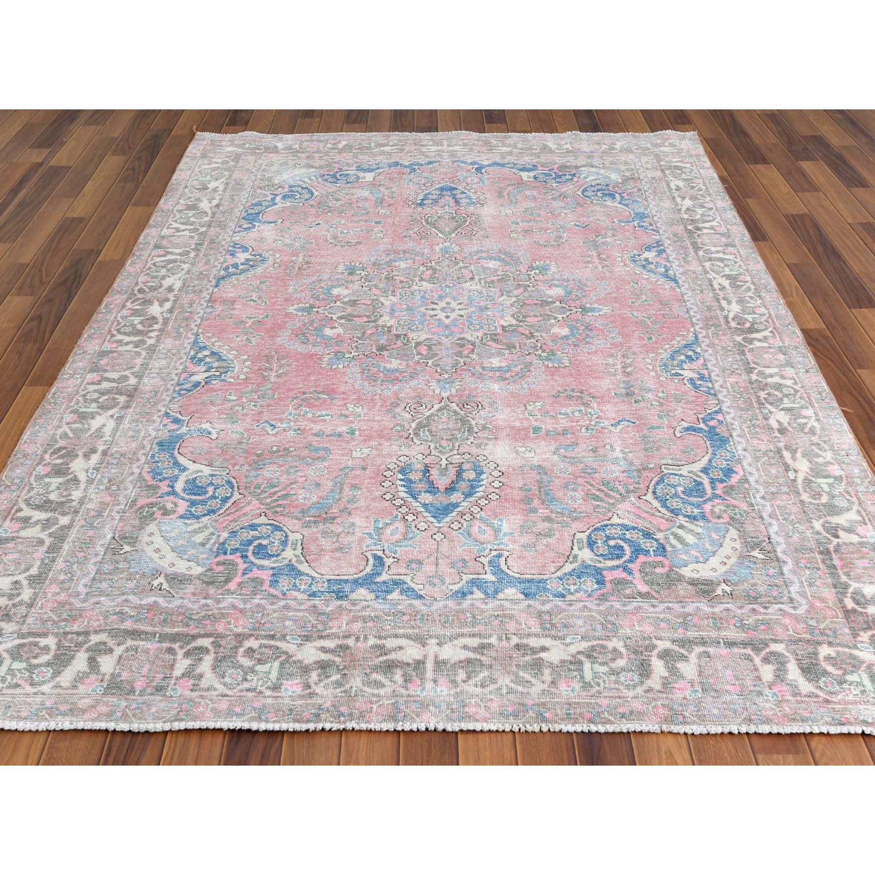 """6'2""""x9'2"""" Faded Pink Semi Antique Pink Persian Tabriz With Medallion Design Shabby Chic Worn Down Clean Pure Wool Hand Knotted Oriental Rug"""