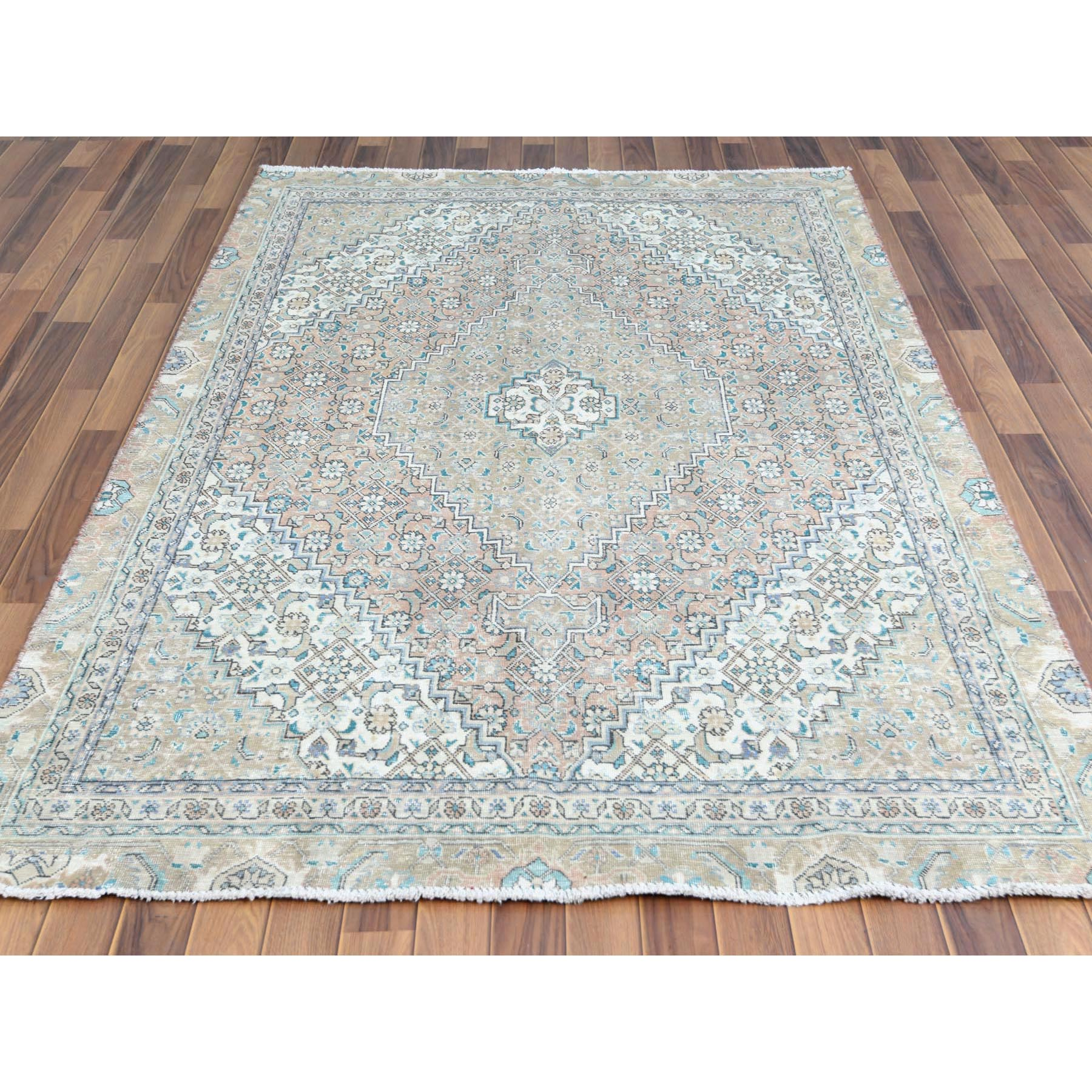 "5'3""x8' Brown Clean Pure Wool Bohemian Worn Down Vintage Look Persian Tabriz Mahi Medallion Design Hand Knotted Oriental Rug"