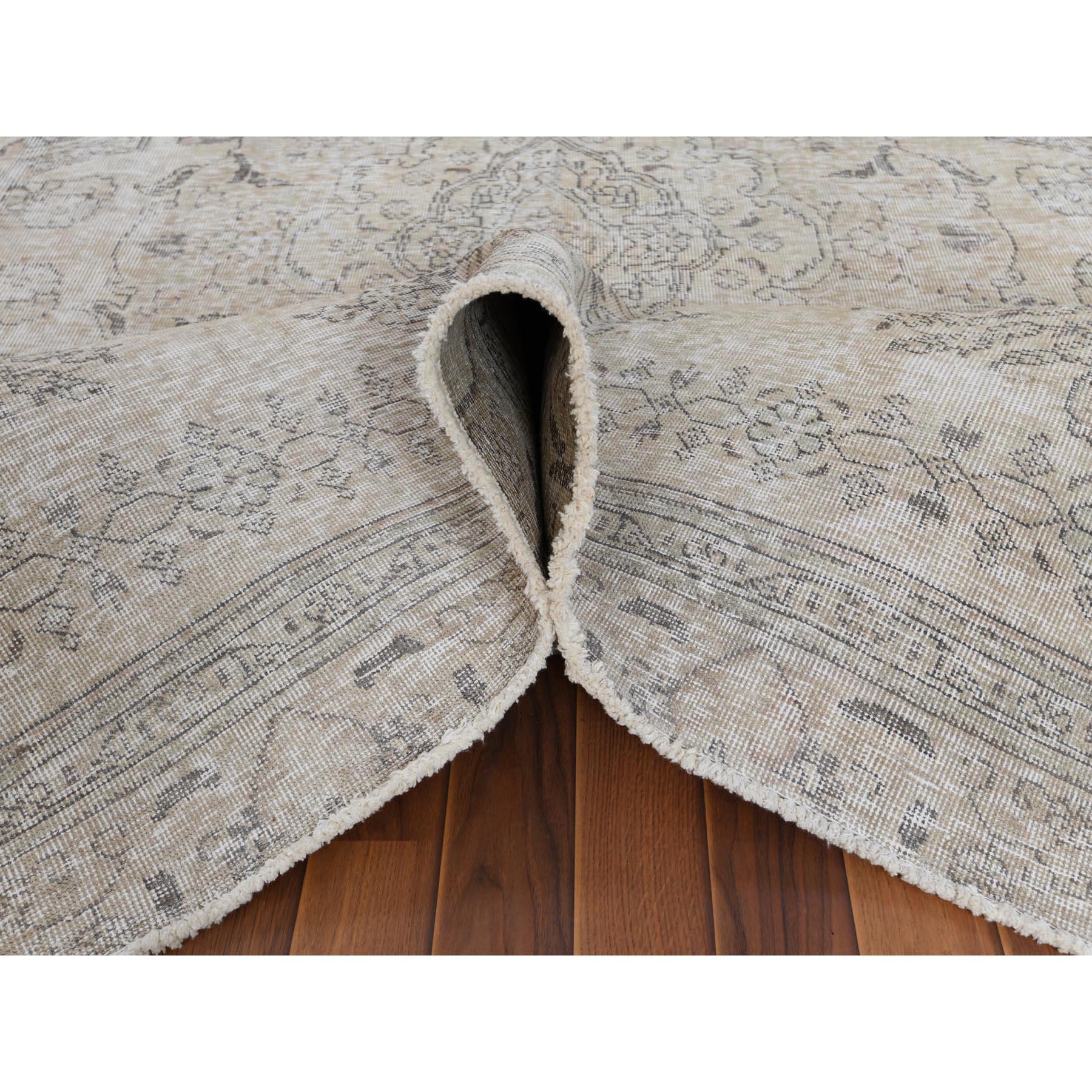"8'1""x11'1"" Grey Clean Pure Wool Bohemian Worn Down Vintage Look Persian Tabriz Medallion Design Hand Knotted Oriental Rug"
