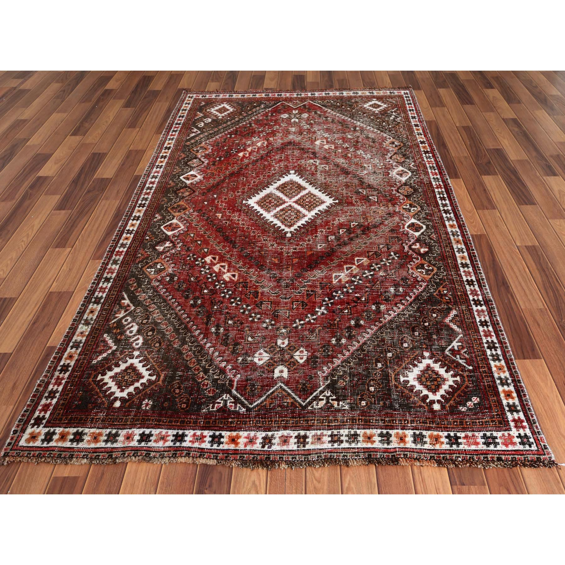 "4'9""x8'2"" Red Vintage Persian Shiraz Worn Down Hand Knotted Oriental Rug"