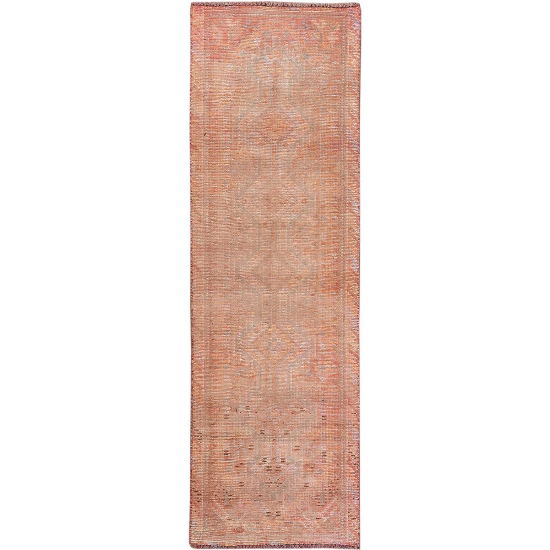 "2'7""x8'2"" Stone Wash Vintage Persian Shiraz Hand Knotted Worn Down Clean Honey Brown Wide Runner Oriental Rug"
