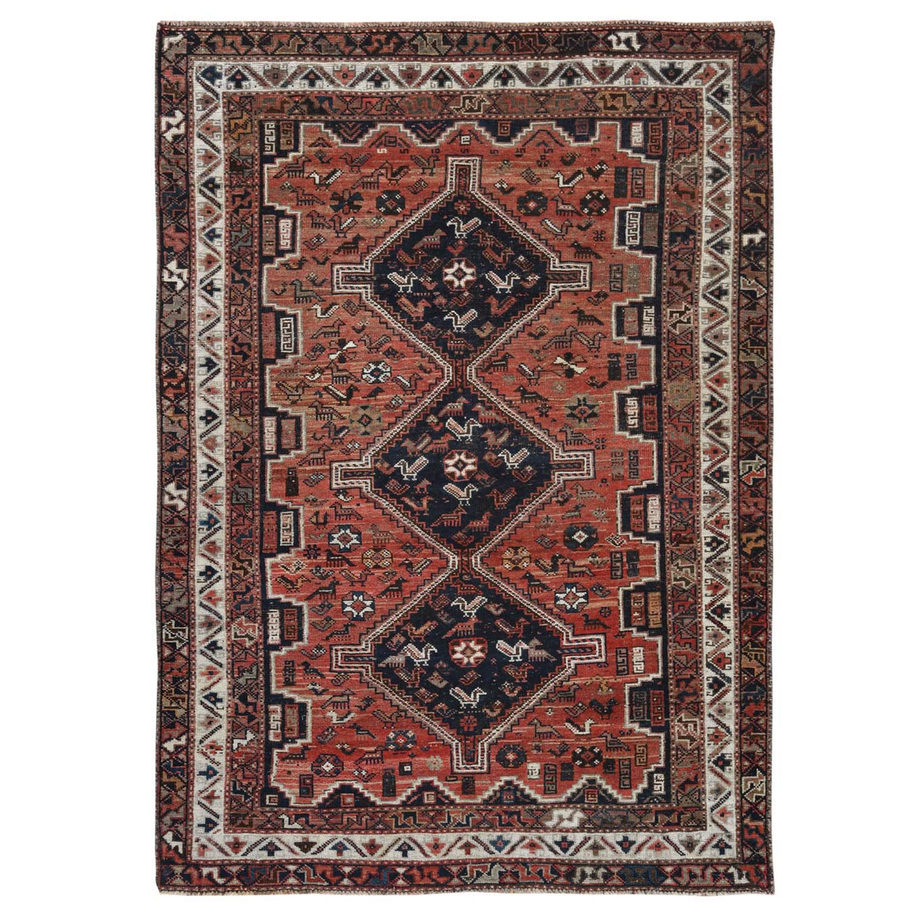 "5'5""x7'8"" Vintage and Worn Down Persian Shiraz Hand Knotted Oriental Rug"