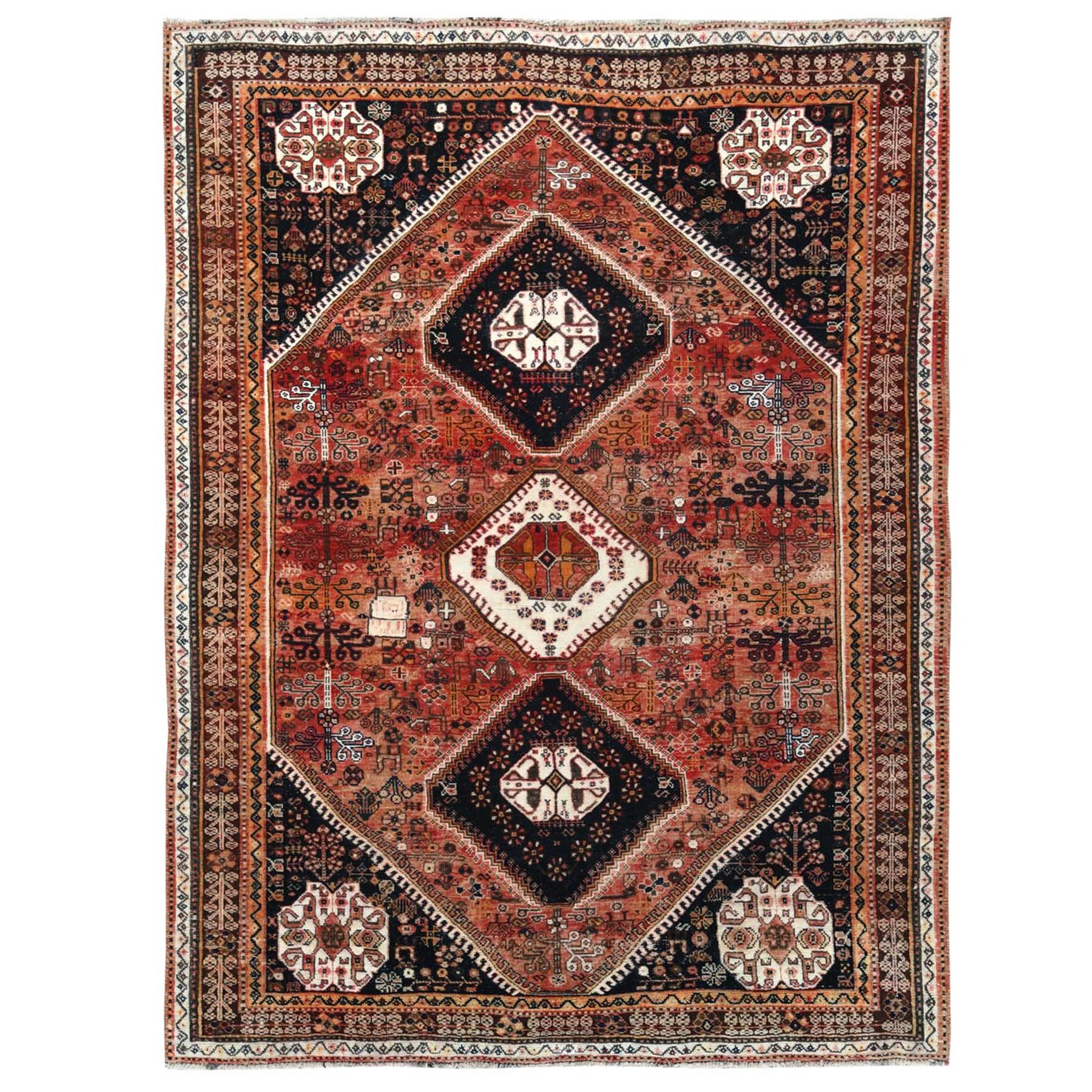 "5'6""x7'4"" Vintage and Worn Down Persian Qashqai with Sunset Colors Geometric Design Hand Knotted Clean Oriental Rug"