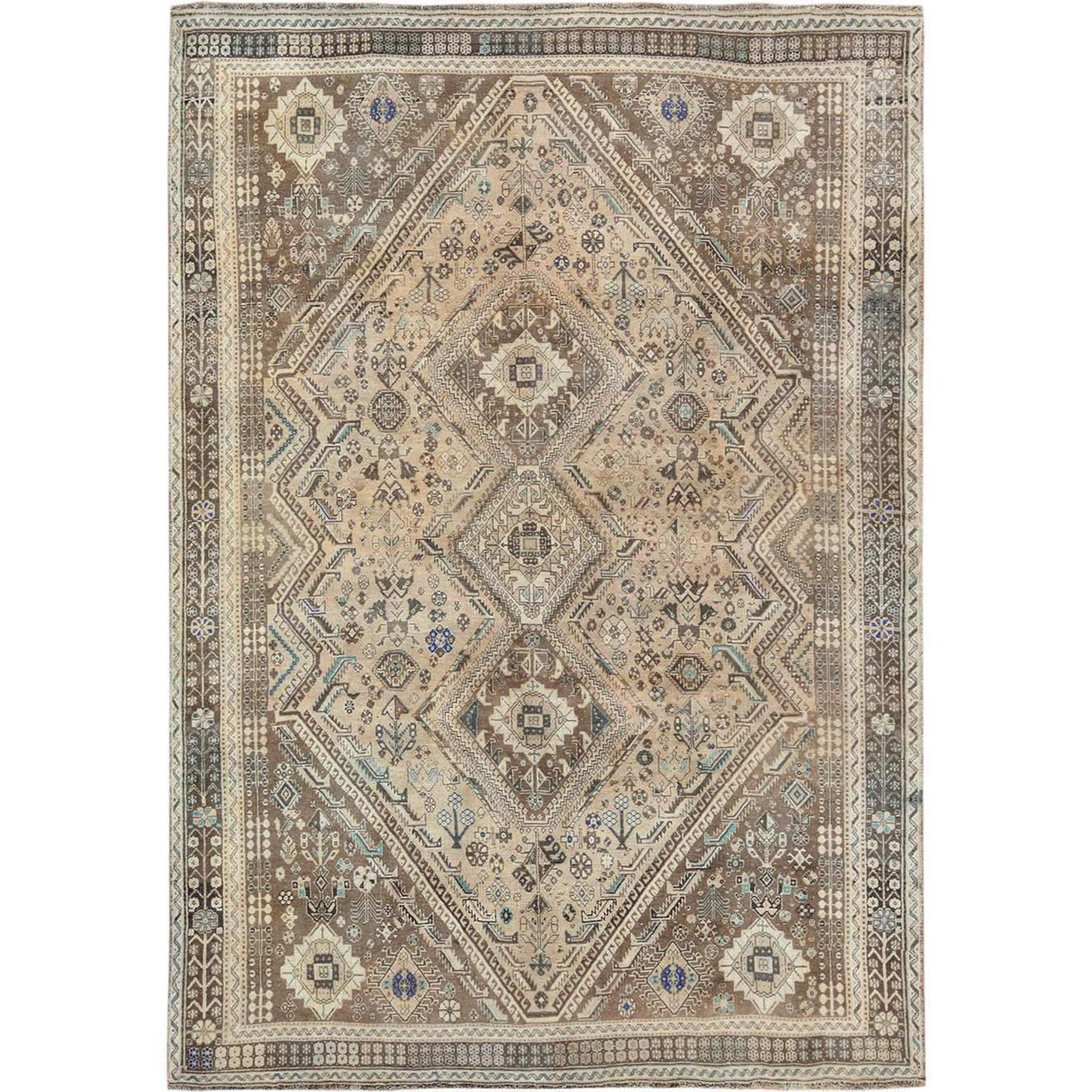 """6'4""""X9'2"""" Natural Colors Persian Shiraz Vintage Worn Down Hand Knotted Oriental Rug moae776e"""