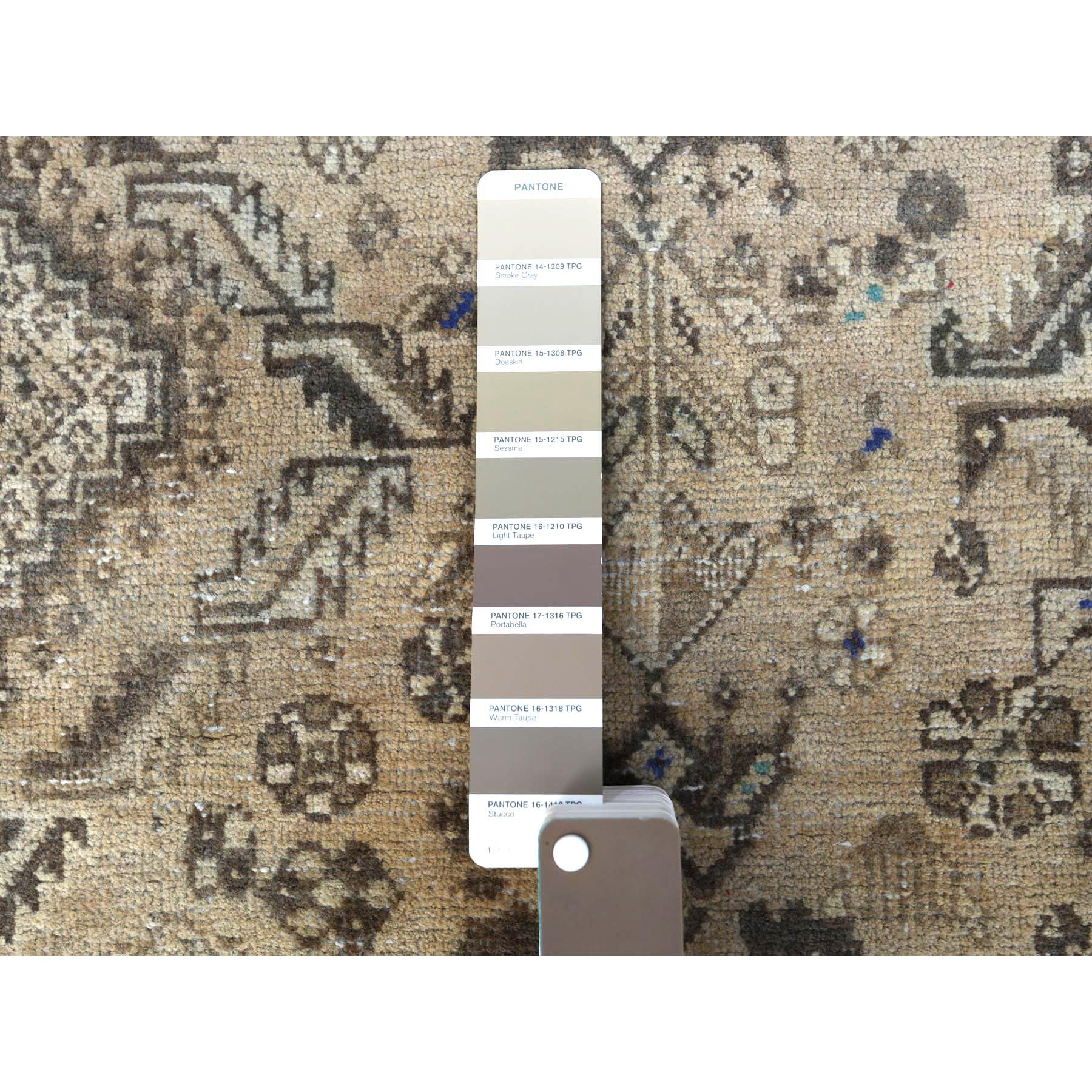 """6'4""""x9'2"""" Natural Colors Persian Shiraz Vintage Worn Down Hand Knotted Oriental Rug"""