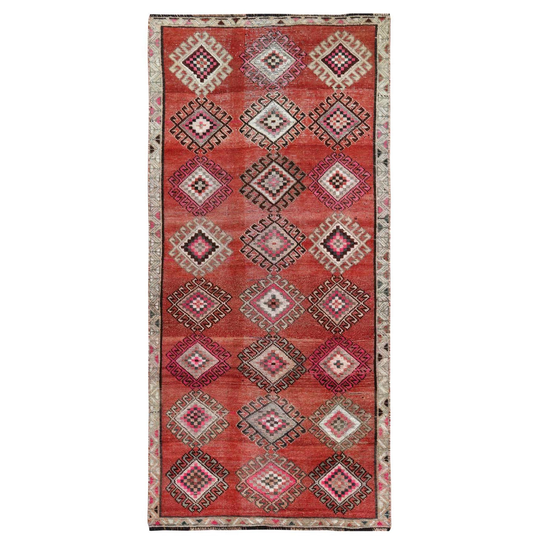 "3'7""x7'9"" Geometric Medallion All Over Design Colorful with The Sunset Persian Shiraz Hand Knotted Wide Runner Oriental Rug"
