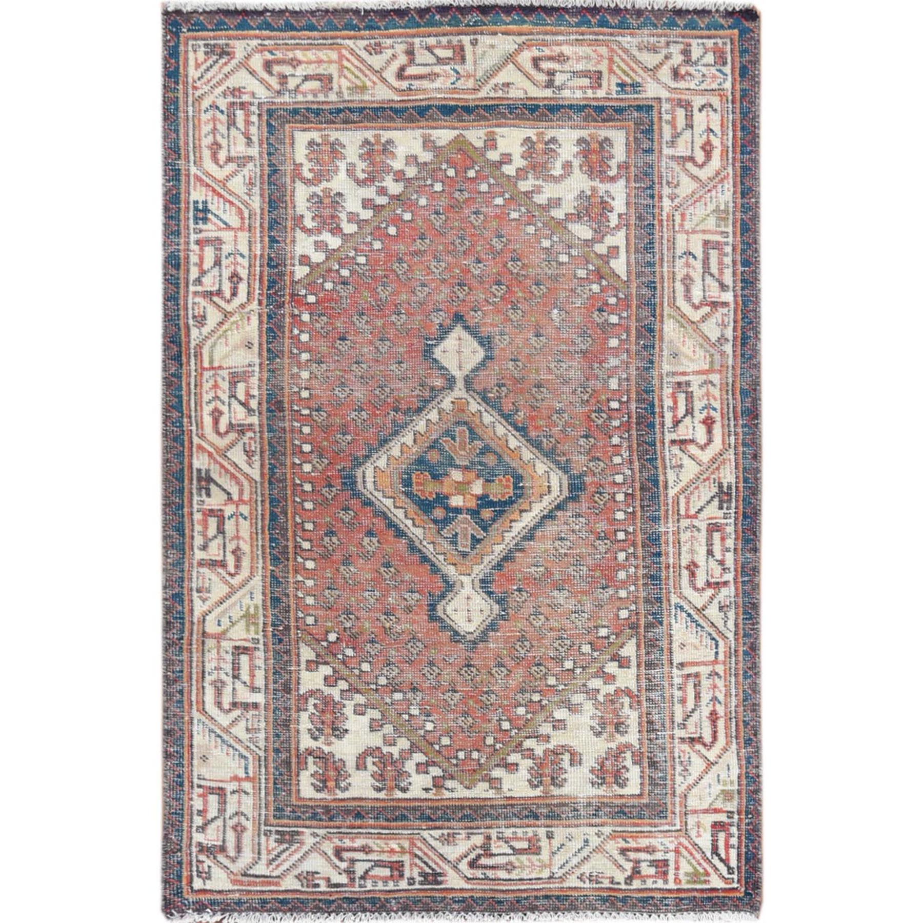 "3'4""x5'2"" Red Vintage and Cropped Thin Sarouk Mir Hand Knotted Oriental Rug"