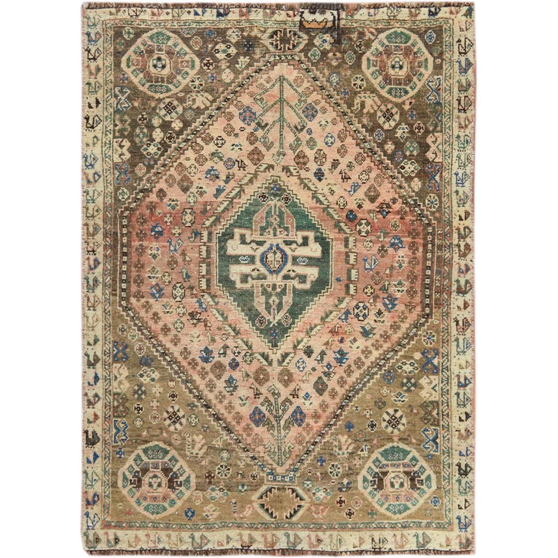 "3'5""x4'10"" Vintage Cropped Thin Persian Shiraz Hand Knotted Oriental Rug"