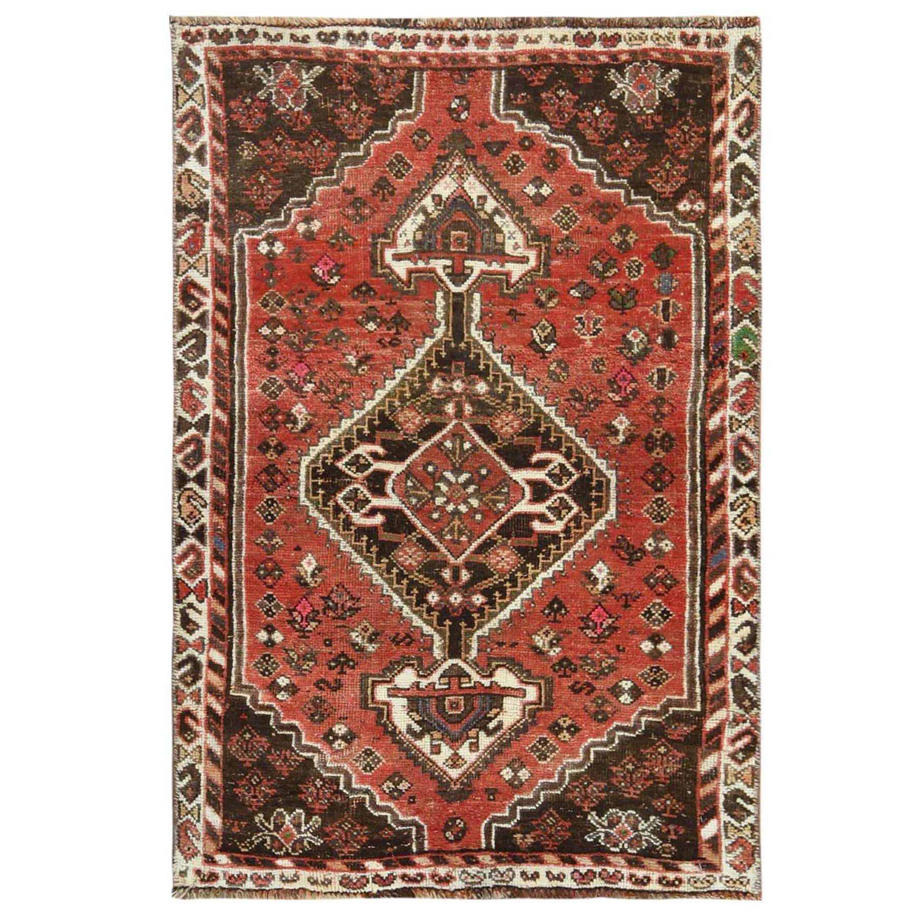 "2'7""x4' Red Vintage Worn Down Persian Qashqai Hand Knotted Oriental Rug"