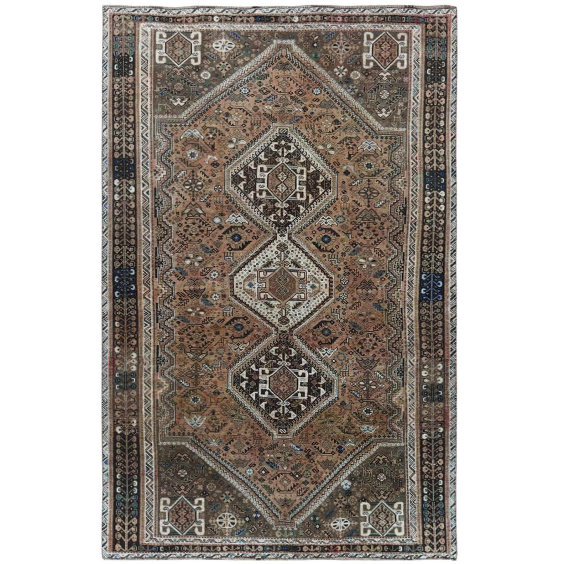 "5'8""x9' Natural Colors Vintage Sheared Low Hand Knotted Persian Bohemian Oriental Rug"