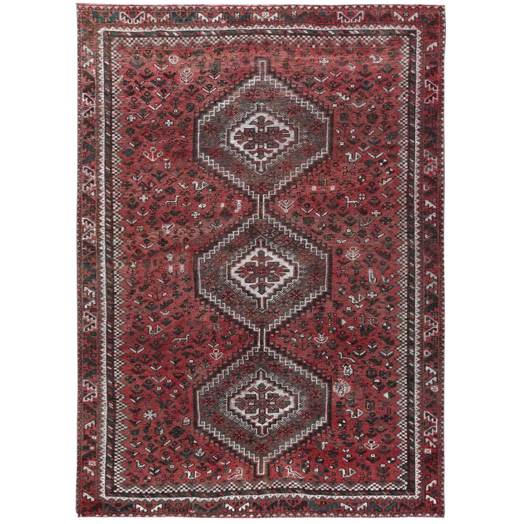 "6'9""x9'6"" Red Vintage and Worn Down Geometric Design Persian Shiraz Hand Knotted Oriental Rug"