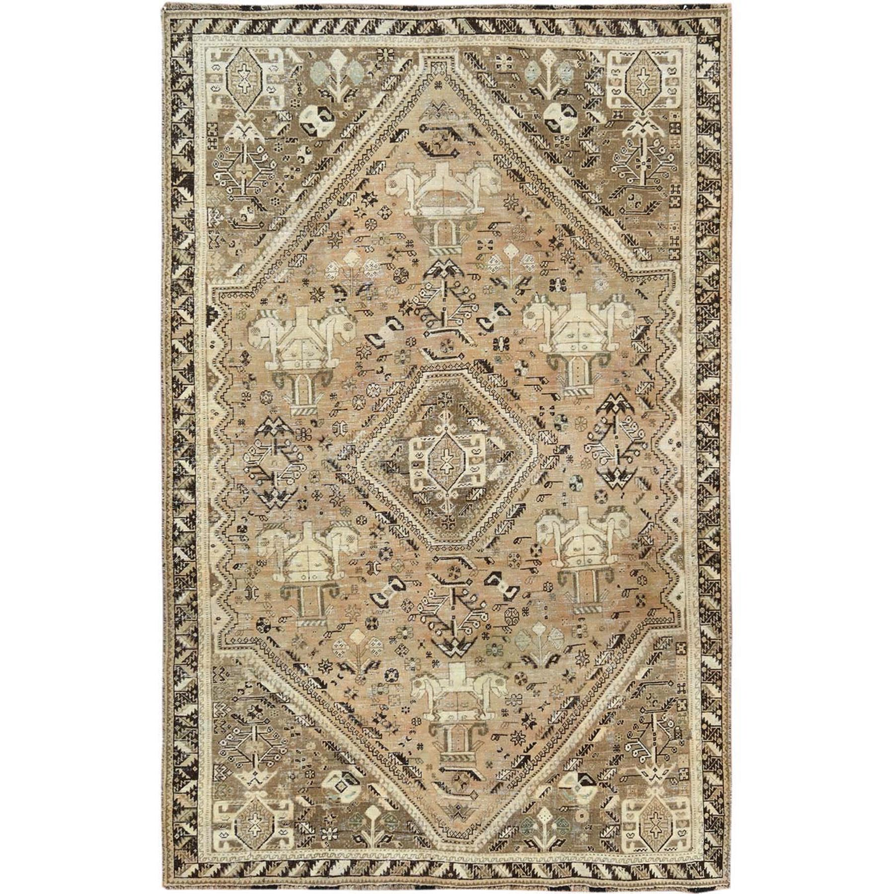 "5'9""x8'10"" Vintage Cropped Thin Persian Qashqai with Earth Tones Colors Trojan Horses Hand Knotted Oriental Rug"