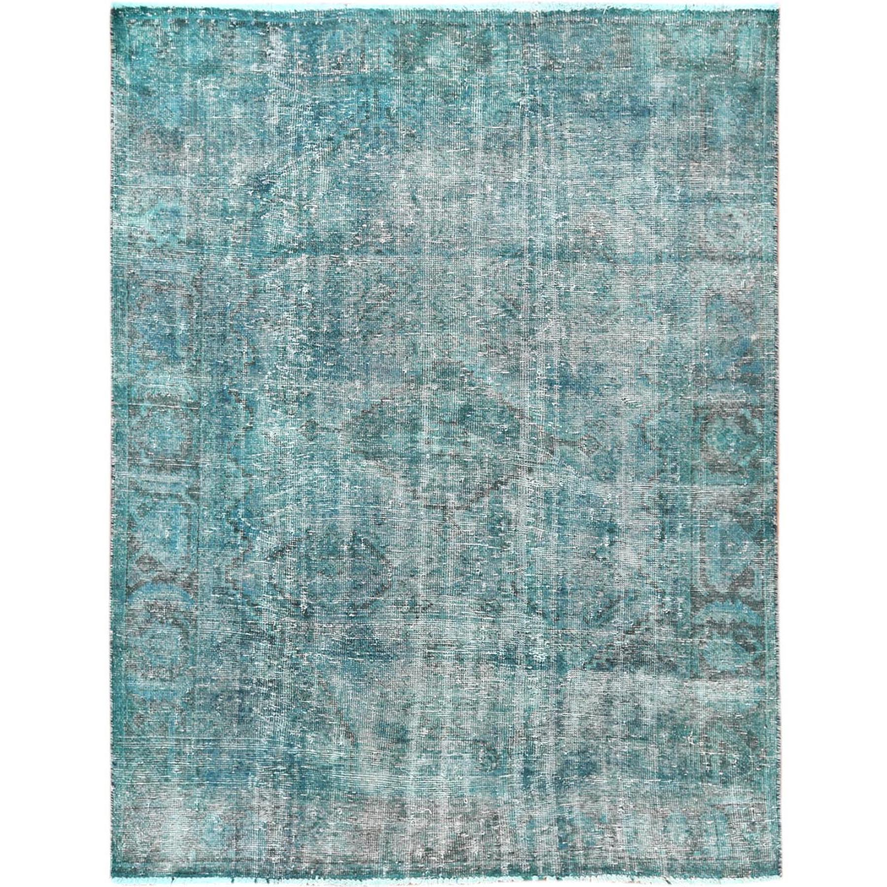 "4'9""x6'4"" Overdyed Green Persian Qashqai with Cropped Thin Hand Knotted Oriental Rug"