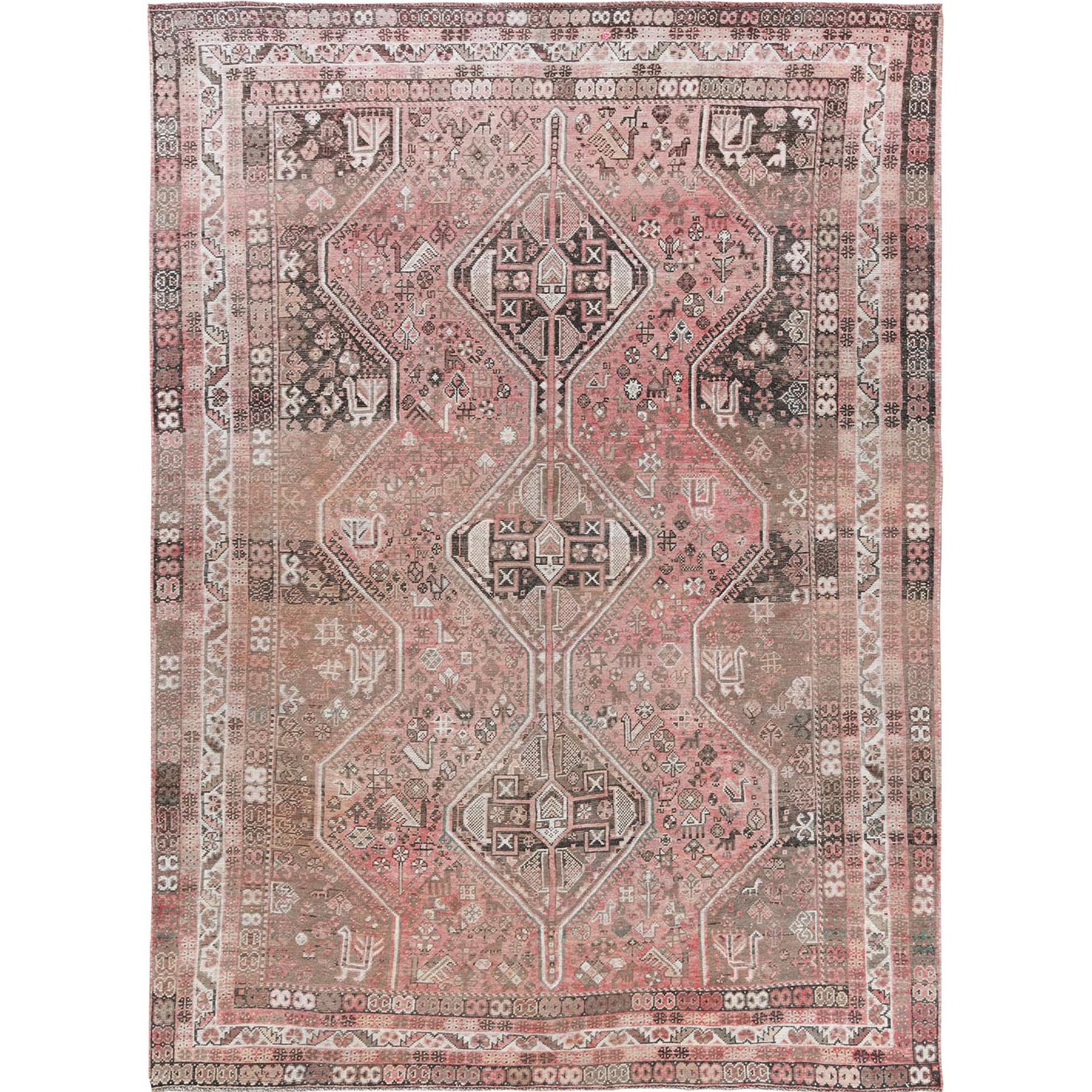 "7'3""x10'1"" Vintage Faded Cropped Thin Persian Bohemian Clean Hand Knotted Oriental Rug"
