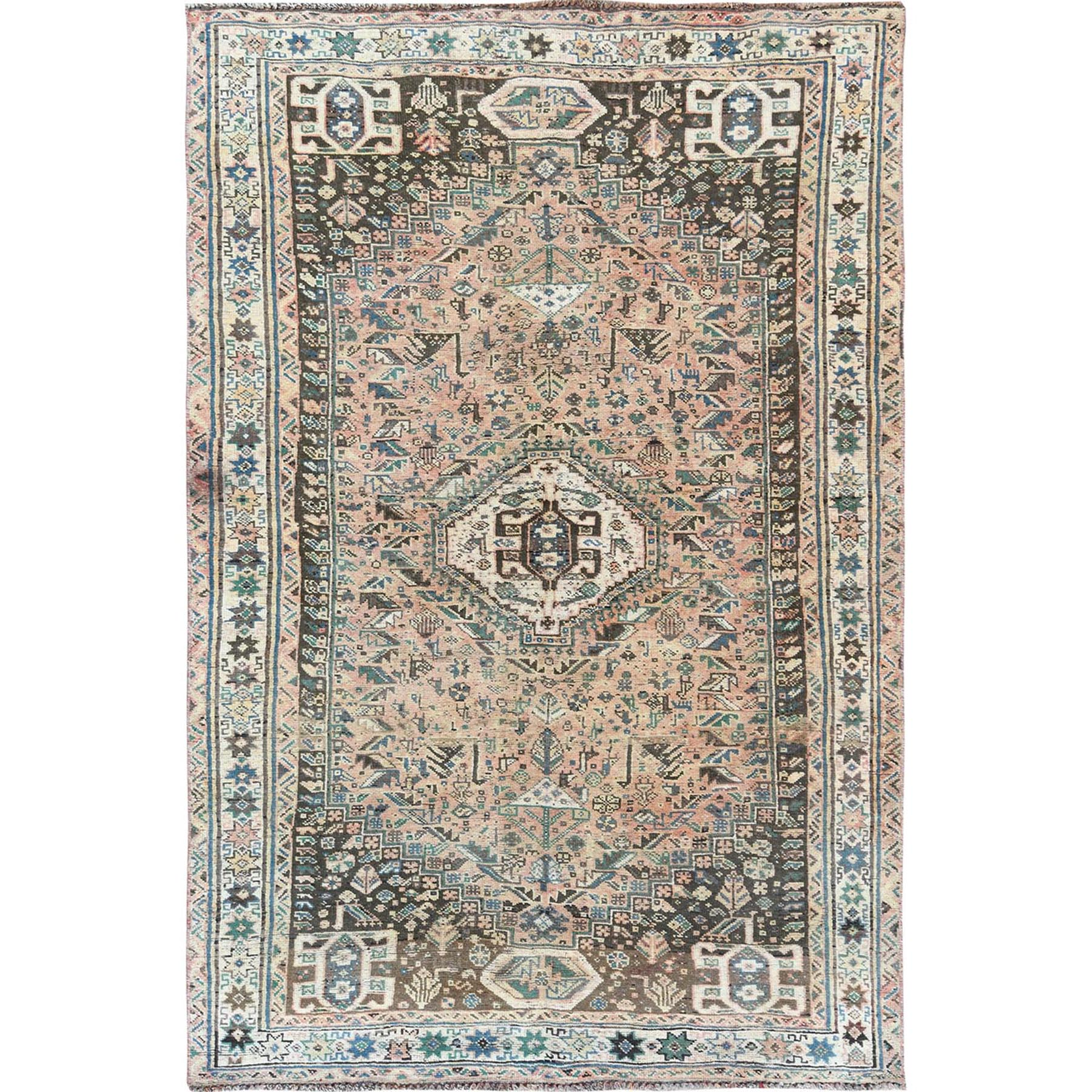 "5'4""x8'3"" Coral Vintage Persian Qashqai Worn Down Hand Knotted Oriental Rug"