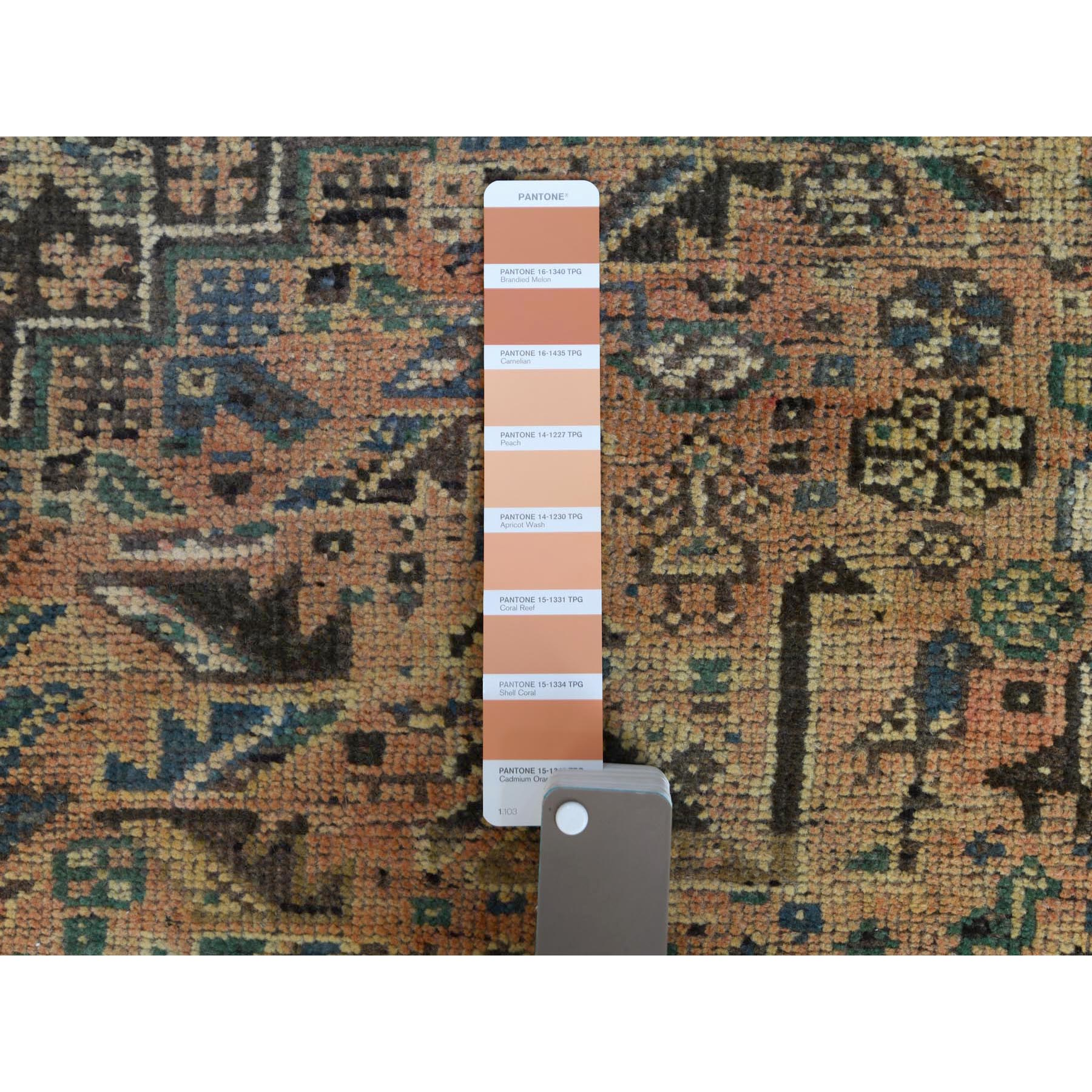"""5'4""""x8'3"""" Coral Vintage Persian Qashqai Worn Down Clean Hand Knotted Oriental Rug"""