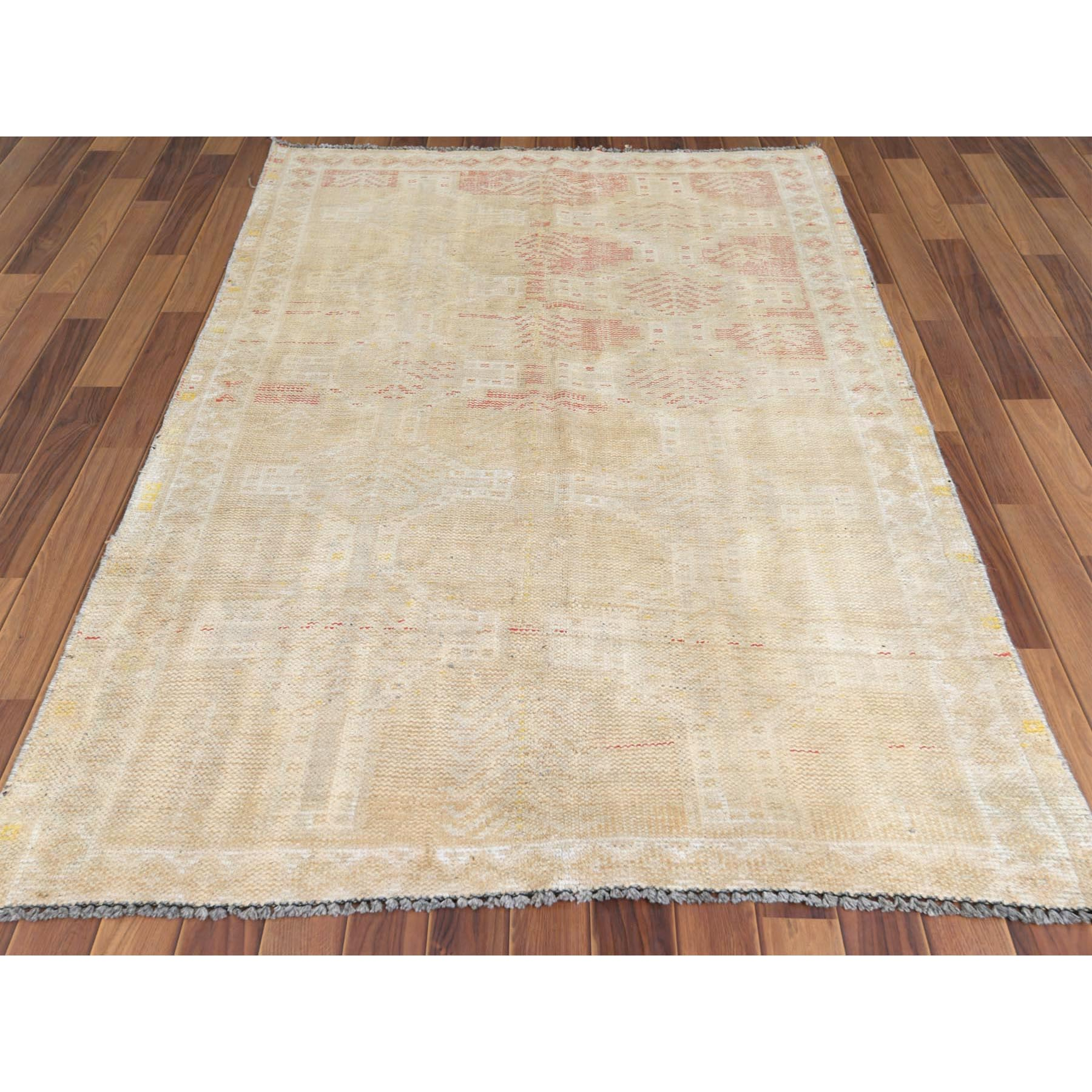 "4'4""x7'2"" Washed Out and Vintage Hand Knotted Persian Shiraz Worn Down Clean Oriental Rug"