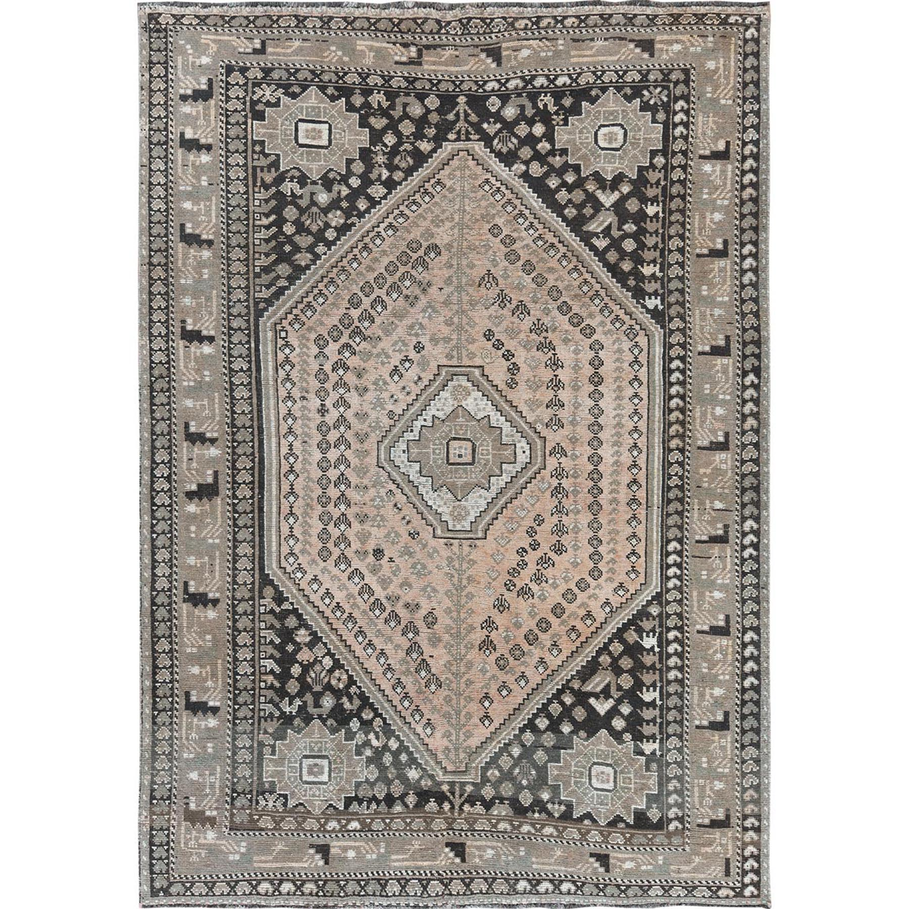 "6'10""x9'9"" Earth Tones Colors Vintage and Cropped Thin Persian Bohemian Geometric Design Clean Hand Knotted Oriental Rug"