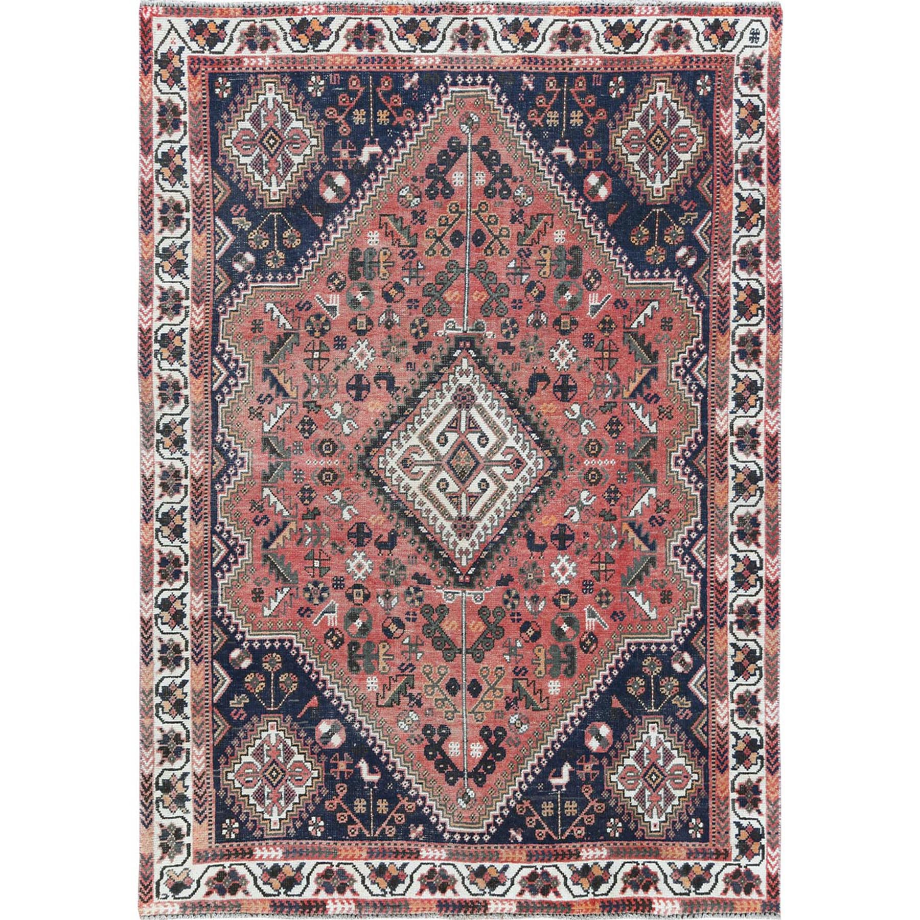 "6'4""x9'1"" Red Vintage Sheared Low Persian Shiraz Hand Knotted Oriental Rug"