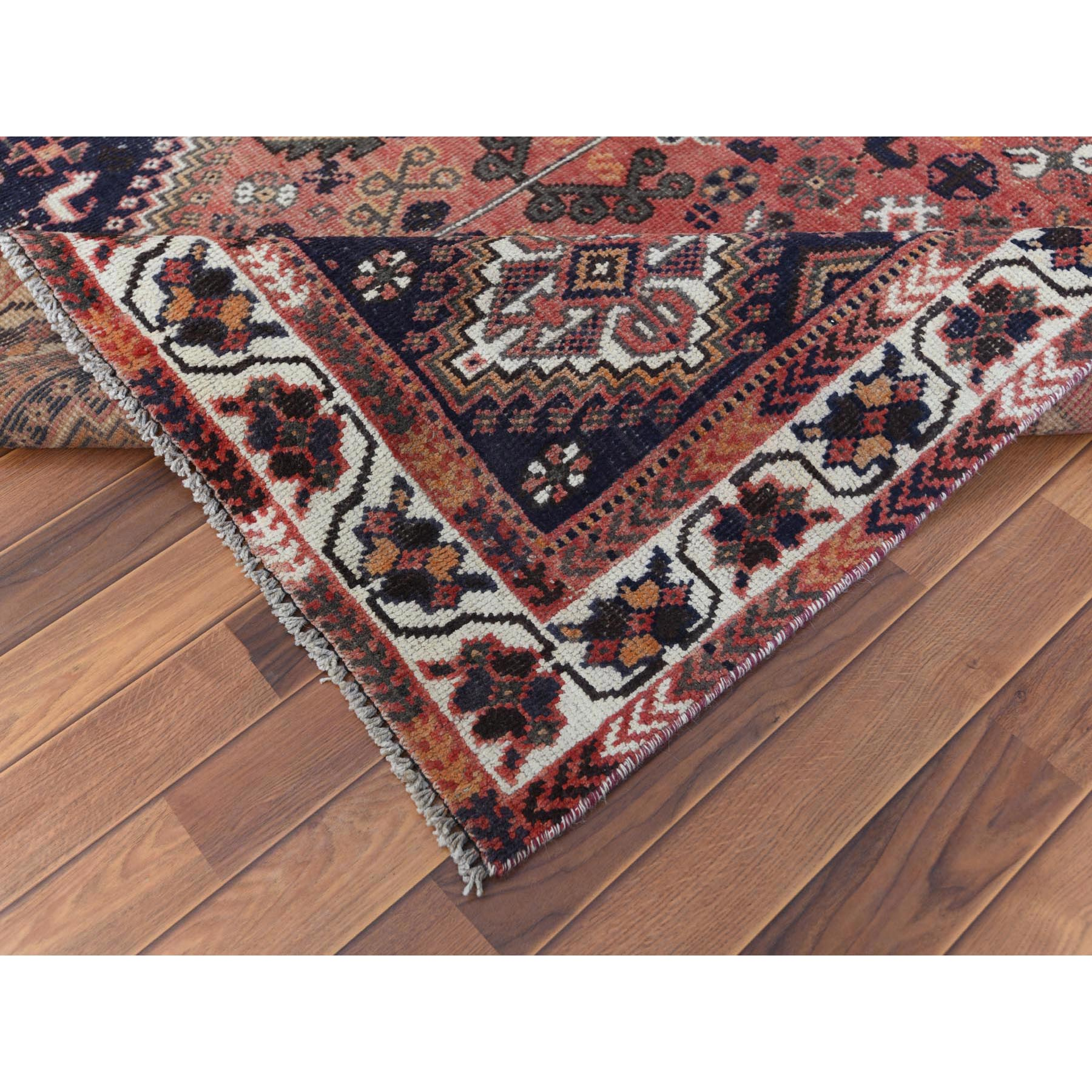 "6'4""x9'1"" Red Vintage Sheared Low Persian Shiraz Clean Hand Knotted Oriental Rug"