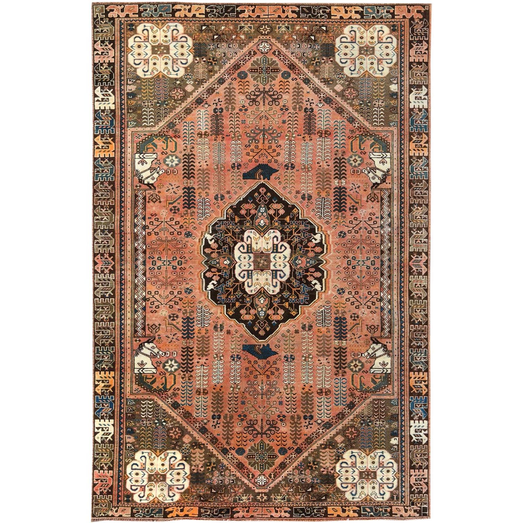 "6'x9'4"" Orange Hand Knotted Vintage Persian Qashqai with Worn Down Geometric Design Oriental Rug"