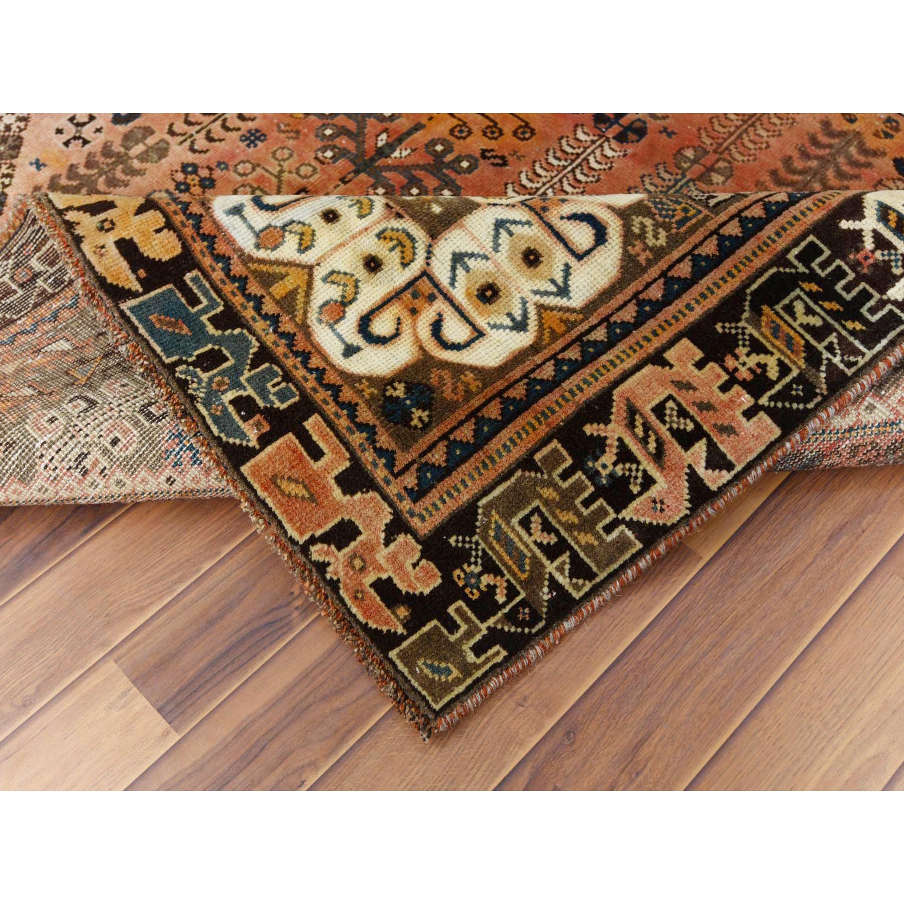 "6'x9'4"" Orange Hand Knotted Vintage Persian Qashqai Clean Worn Down Geometric Design Oriental Rug"