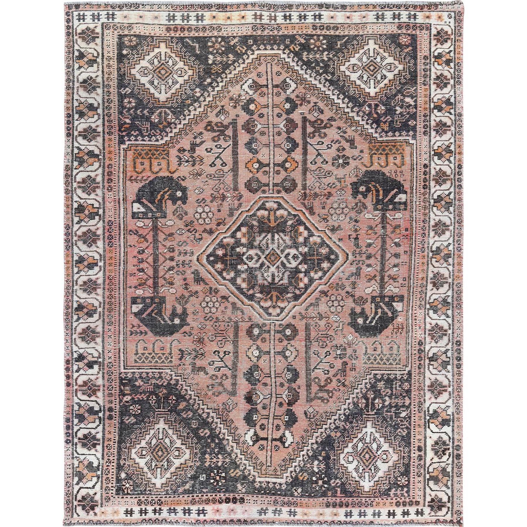 "5'8""x7'6"" Brown Persian Shiraz Old Geometric Design Sheared Low Hand Knotted Oriental Rug"