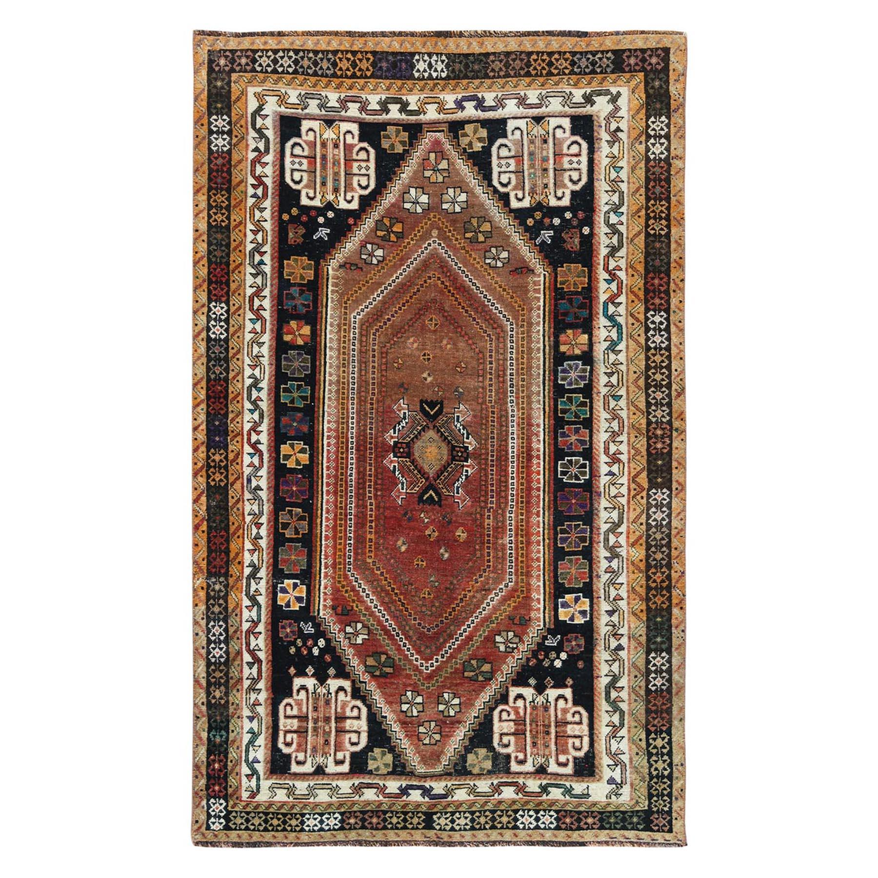 "4'3""x7' Vintage Colorful Persian Bohemian Sheared Low Hand Knotted Clean Oriental Rug"