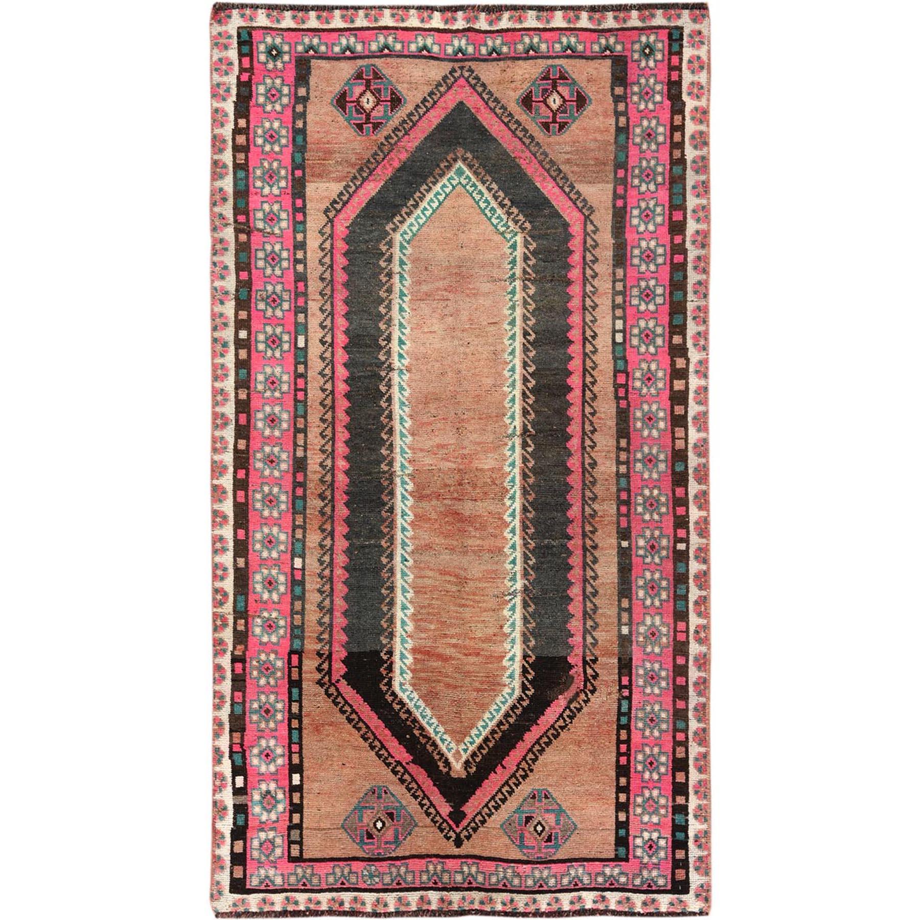 "4'7""x8'6"" Pure Wool Honey Brown Persian Qashqai Hand Knotted Vintage Worn Down Clean Geometric Pattern Oriental Rug"